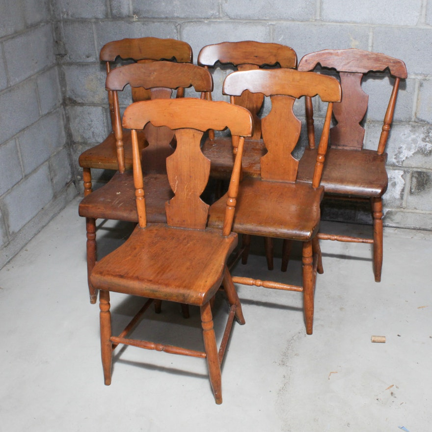Antique Pine and Maple Fiddle Back Dining Chairs ... - Antique Pine And Maple Fiddle Back Dining Chairs : EBTH