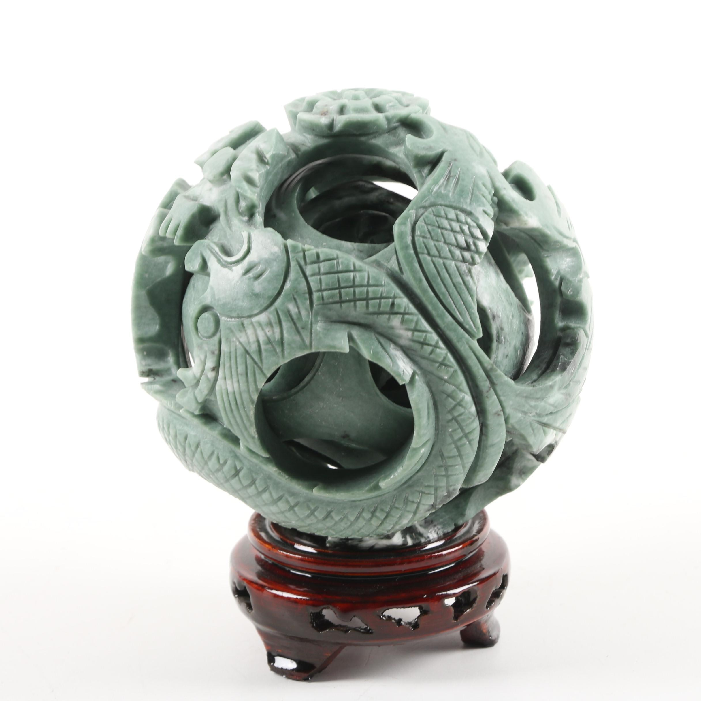 Carved Green Marble Chinese Puzzle Ball with Lacquered Wood Base