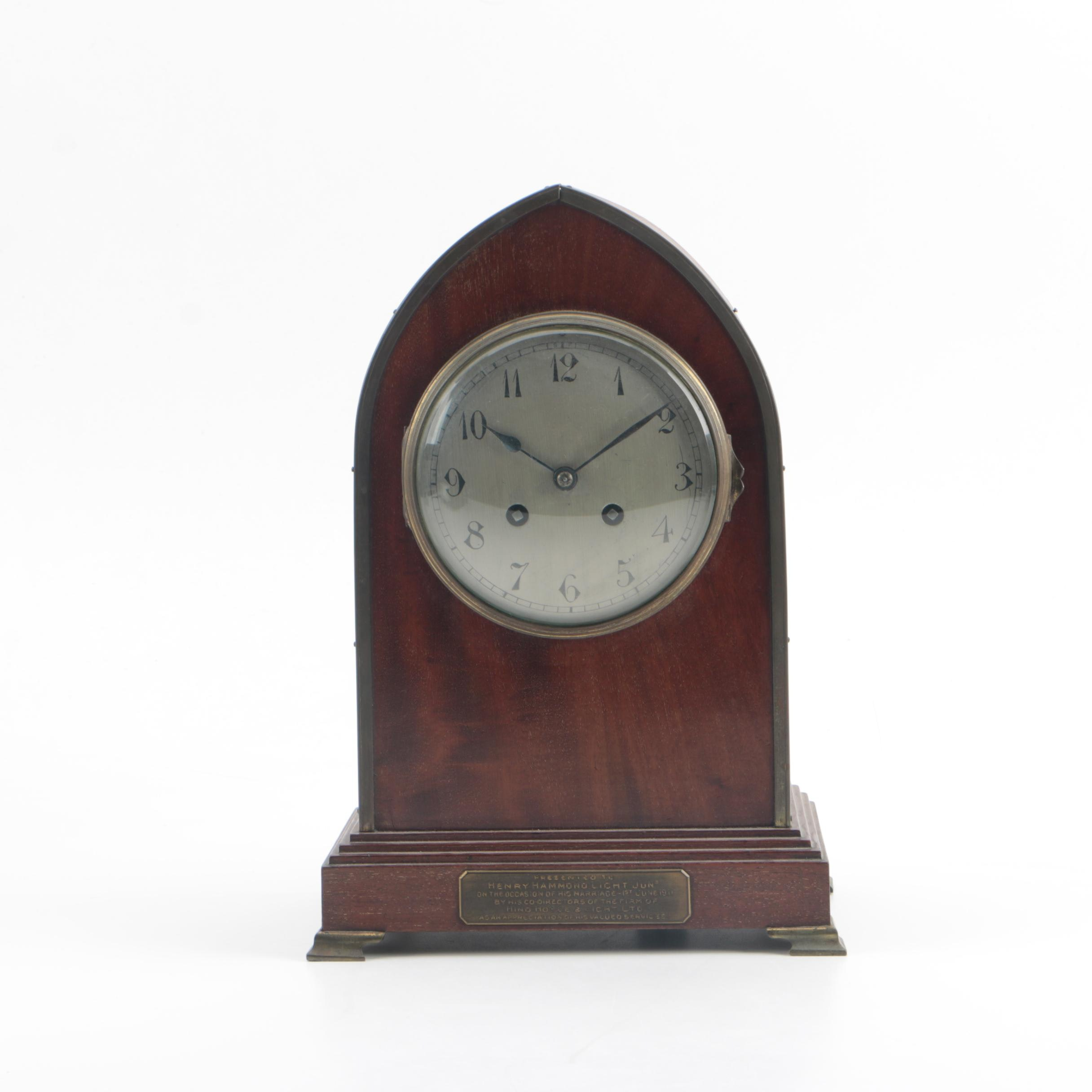 Antique French AD Mougin Gothic Steeple Style Mantel Clock