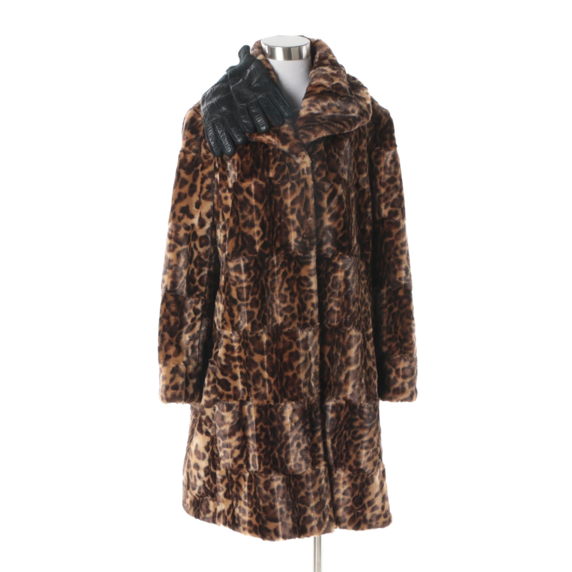 Women's Jones New York Leopard Print Faux Fur Coat with Leather Gloves