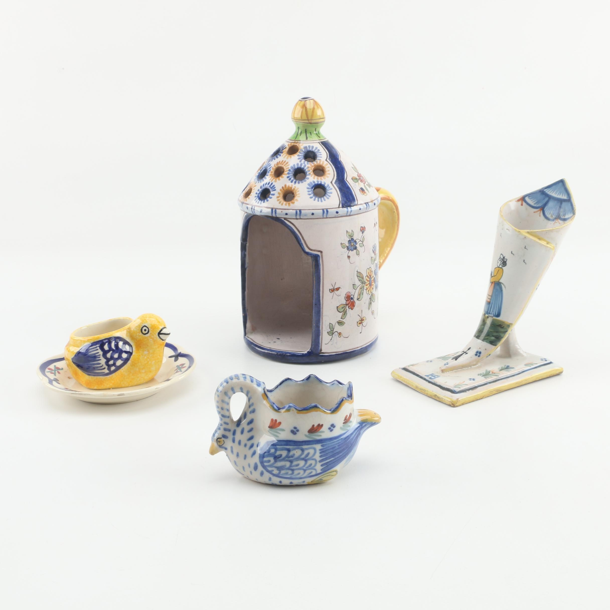 Hand-Painted Faience Tableware and Décor including Quimper