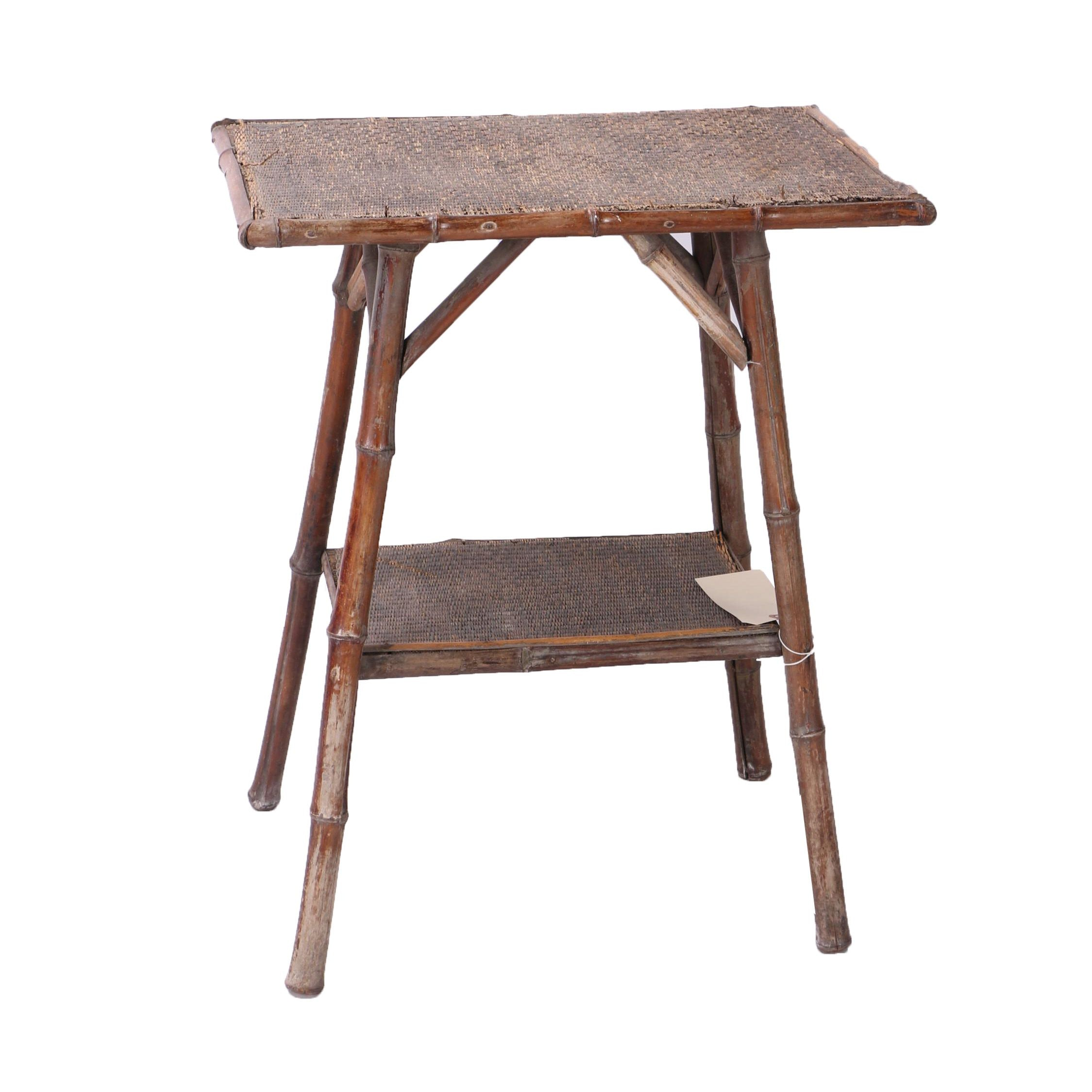 Woven Bamboo End Table