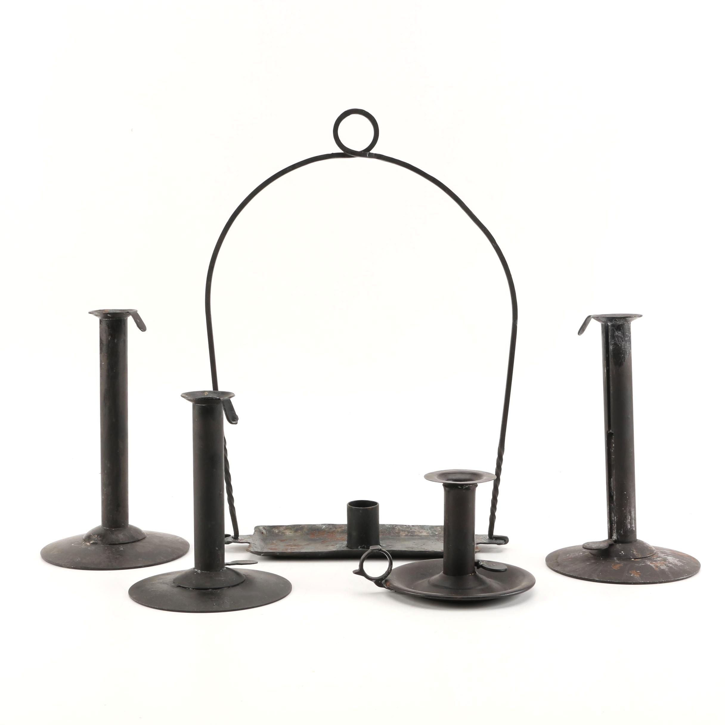 Antique Hogscraper Candle Holders with Hanging Candleholder