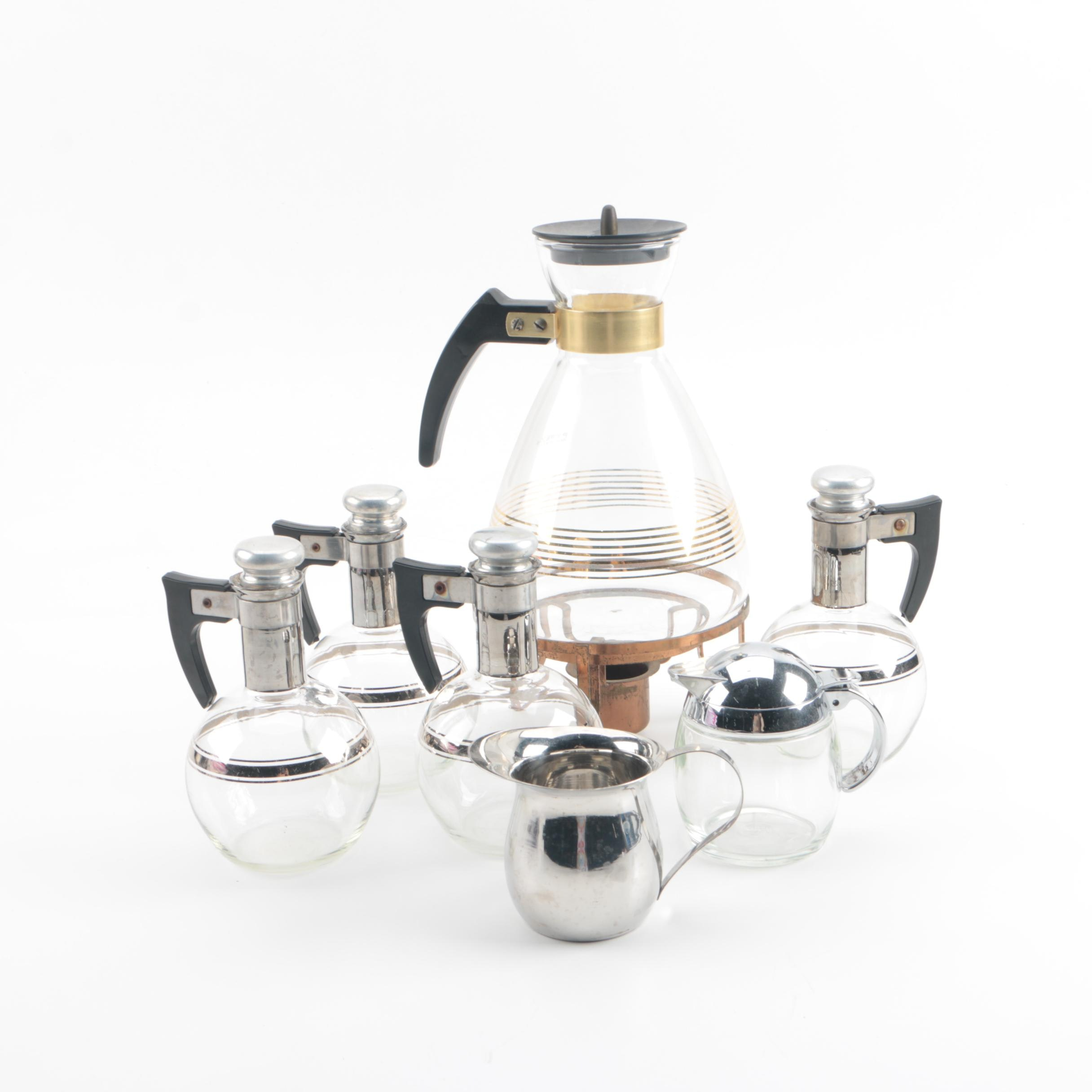 Mid Century Breakfast Serveware Including Pyrex Coffee Carafe