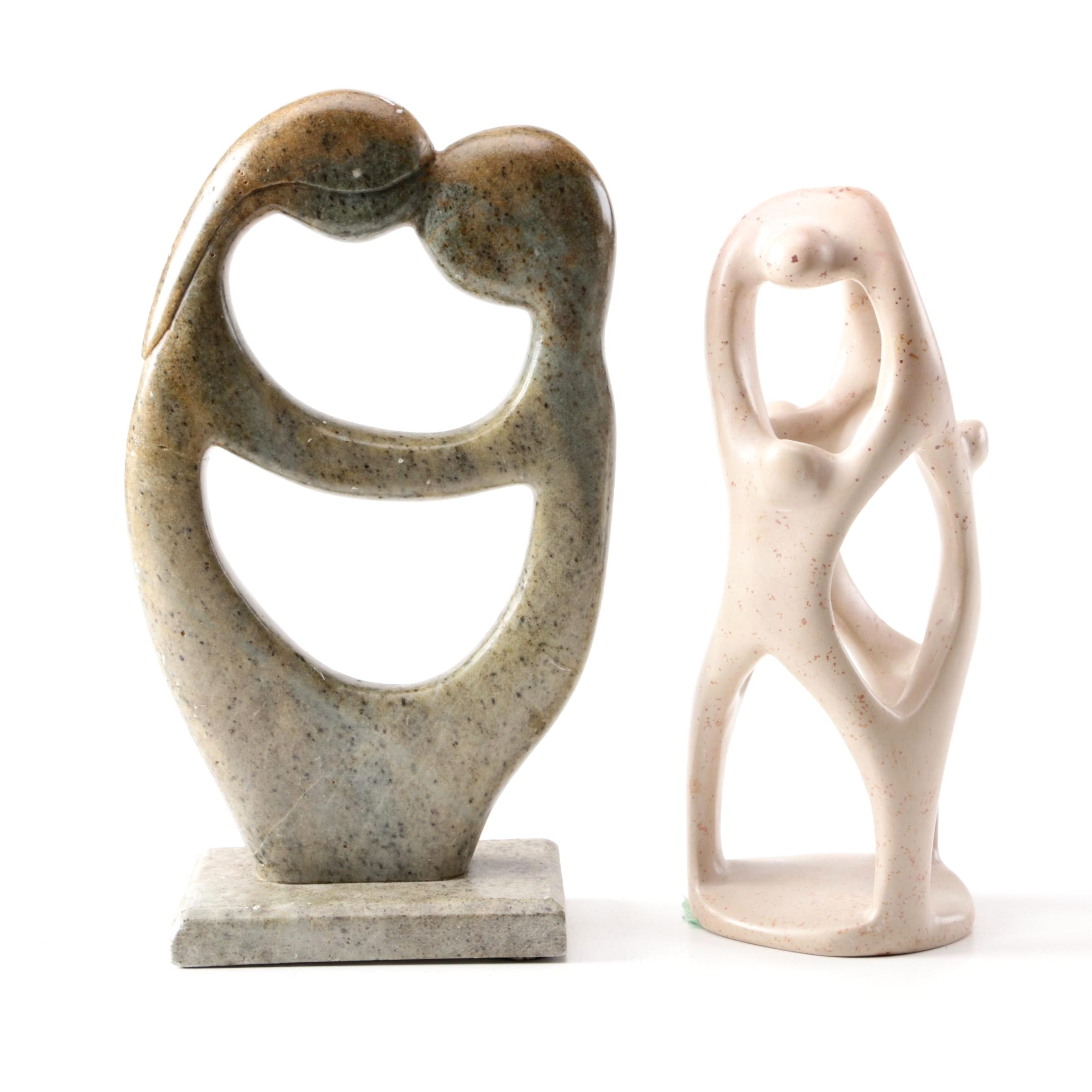 South African Style Figural Soapstone and Ceramic Sculptures