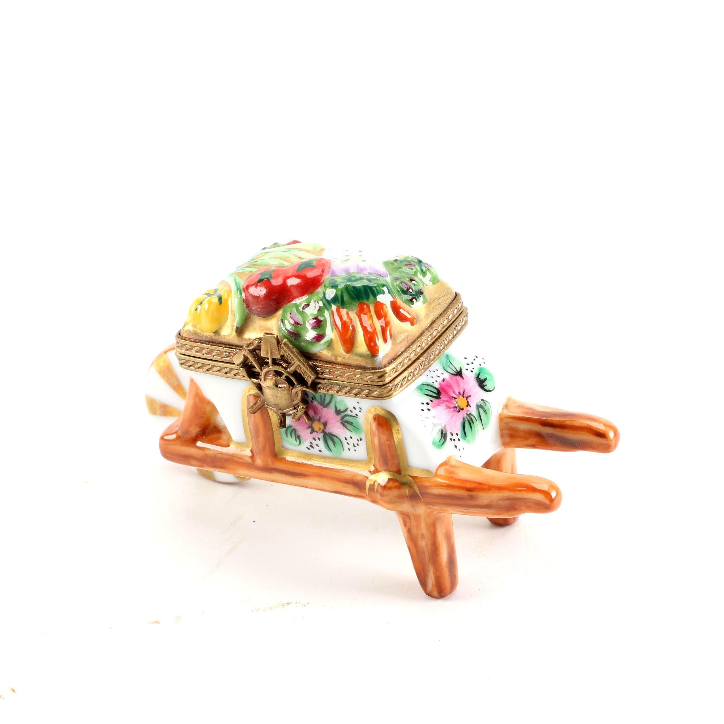 Limoges Hand-Painted Porcelain Wheelbarrow Themed Trinket Box