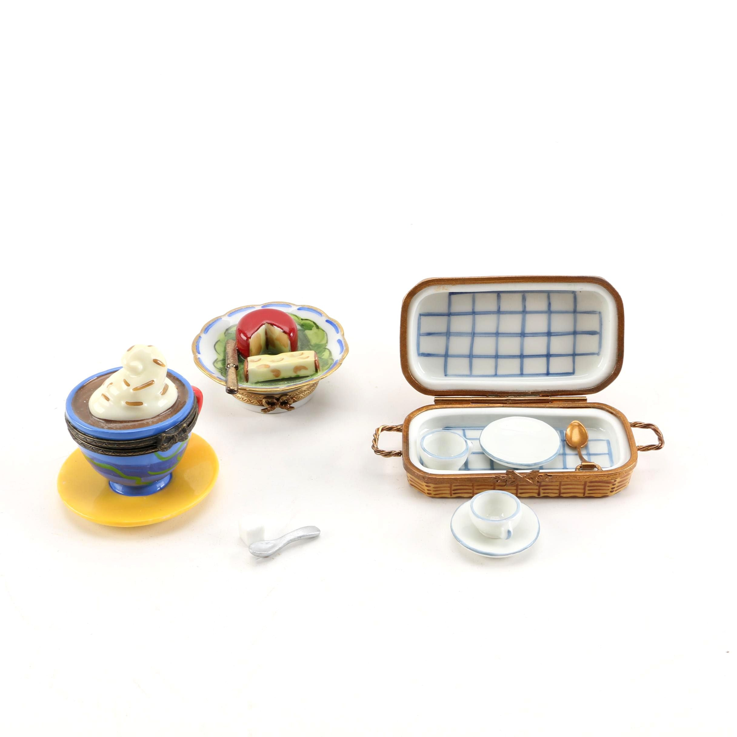 Porcelain Food-Themed Trinket Boxes featuring Limoges