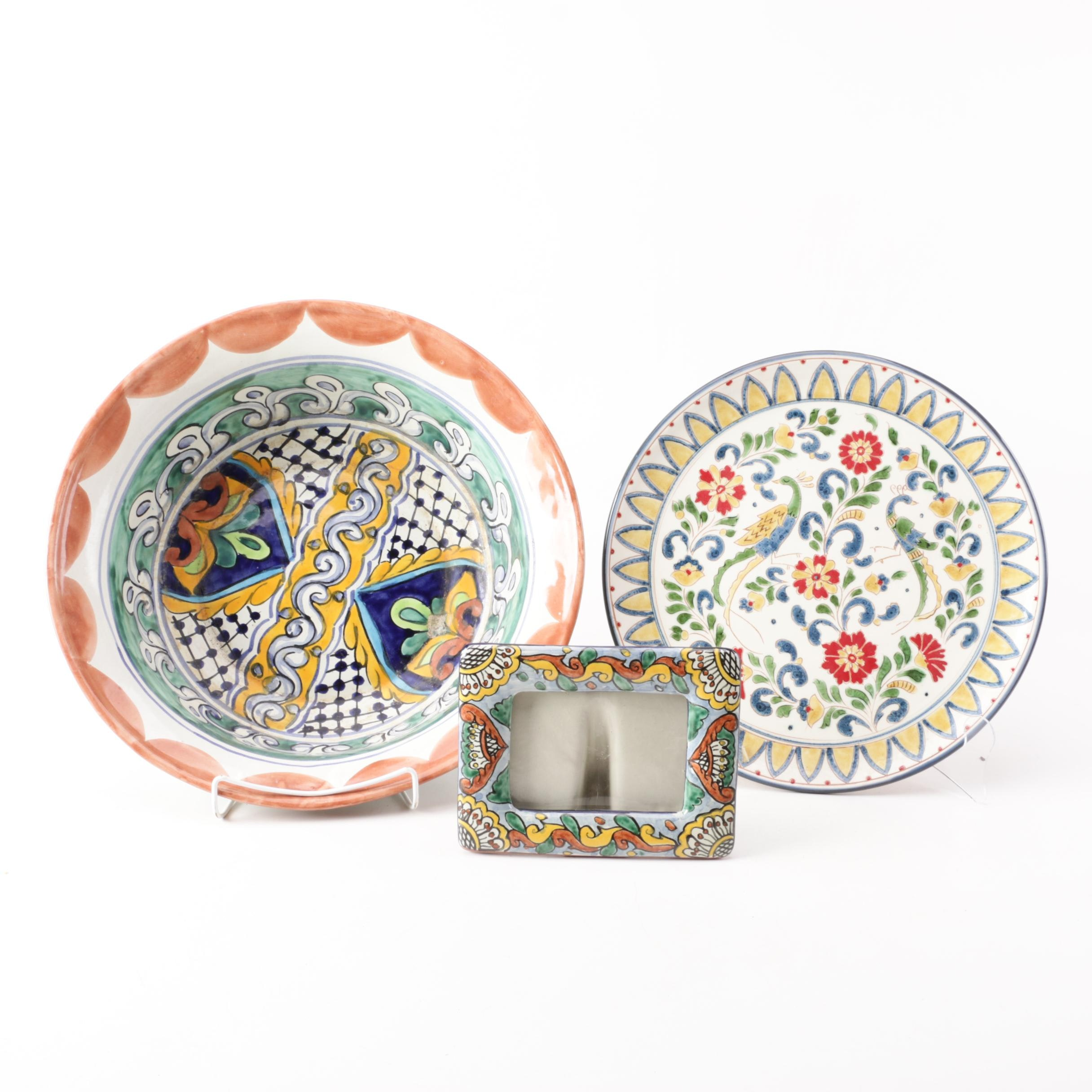 Hand-Painted Mexican Pottery Bowl, Plate, and Picture Frame including Talavera