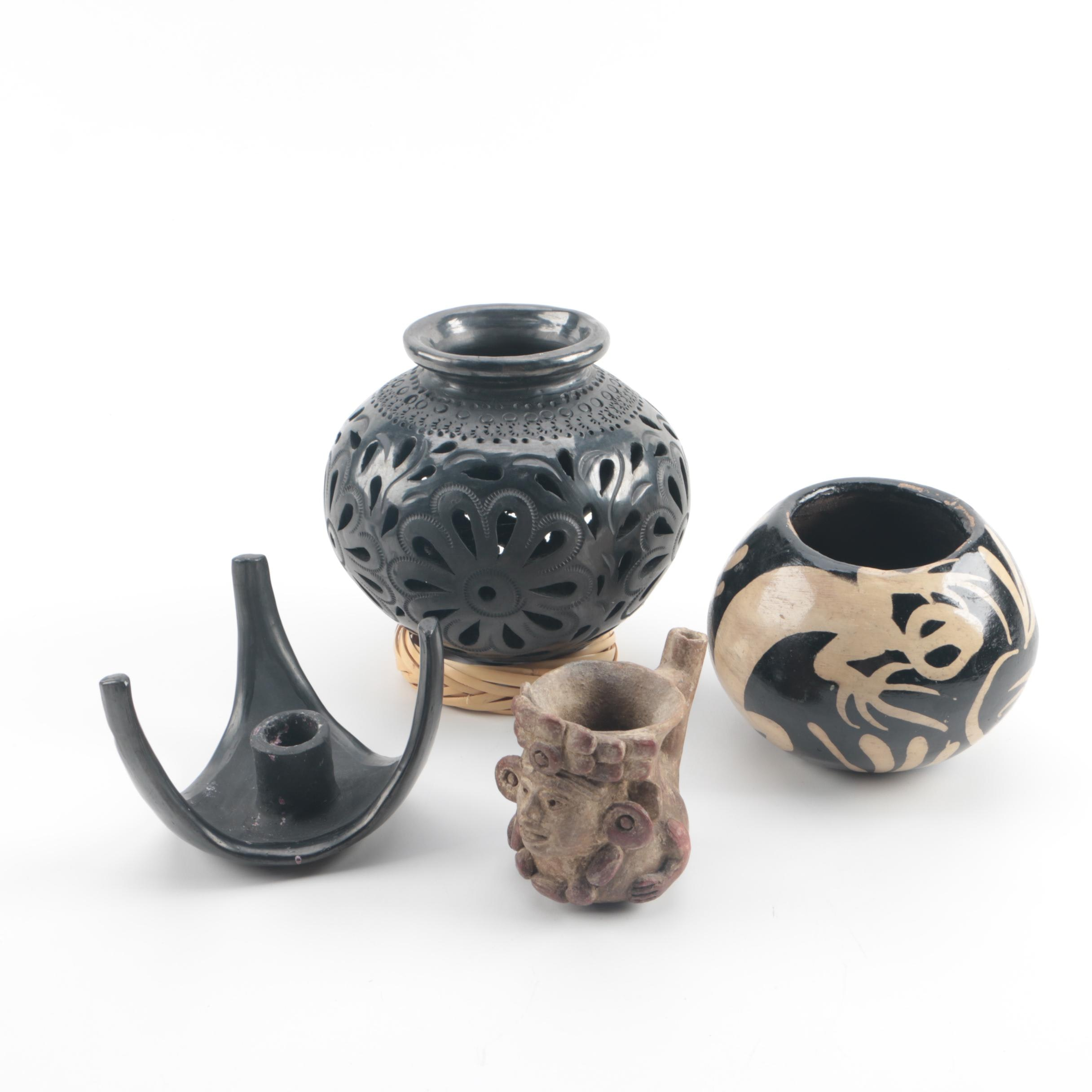 Doña Rosa Candlestick Holder, Mayan Inspired Pipe, and Mexican Pottery Vessels