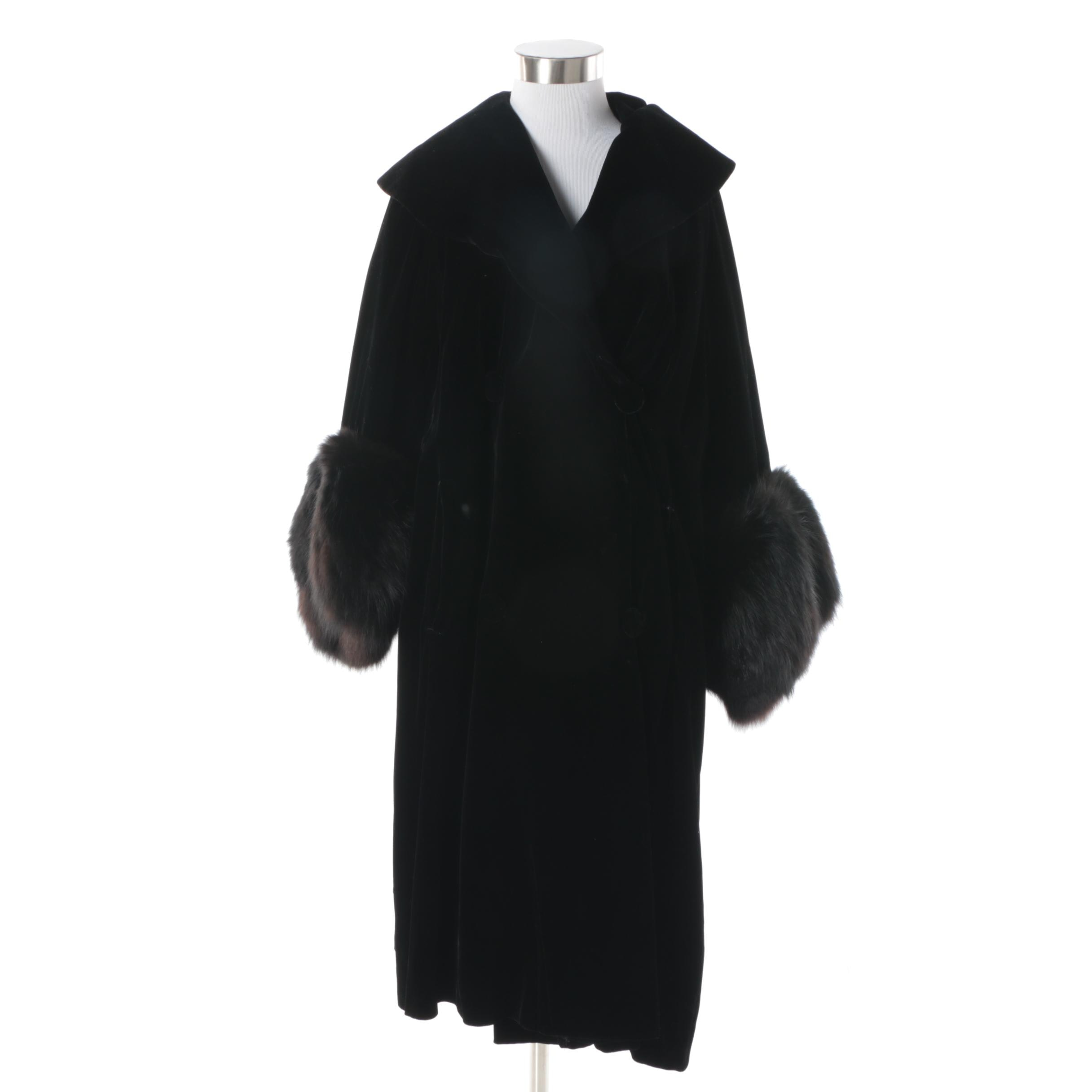 Vintage Black Velveteen Swing Coat with Fox Fur Cuffs
