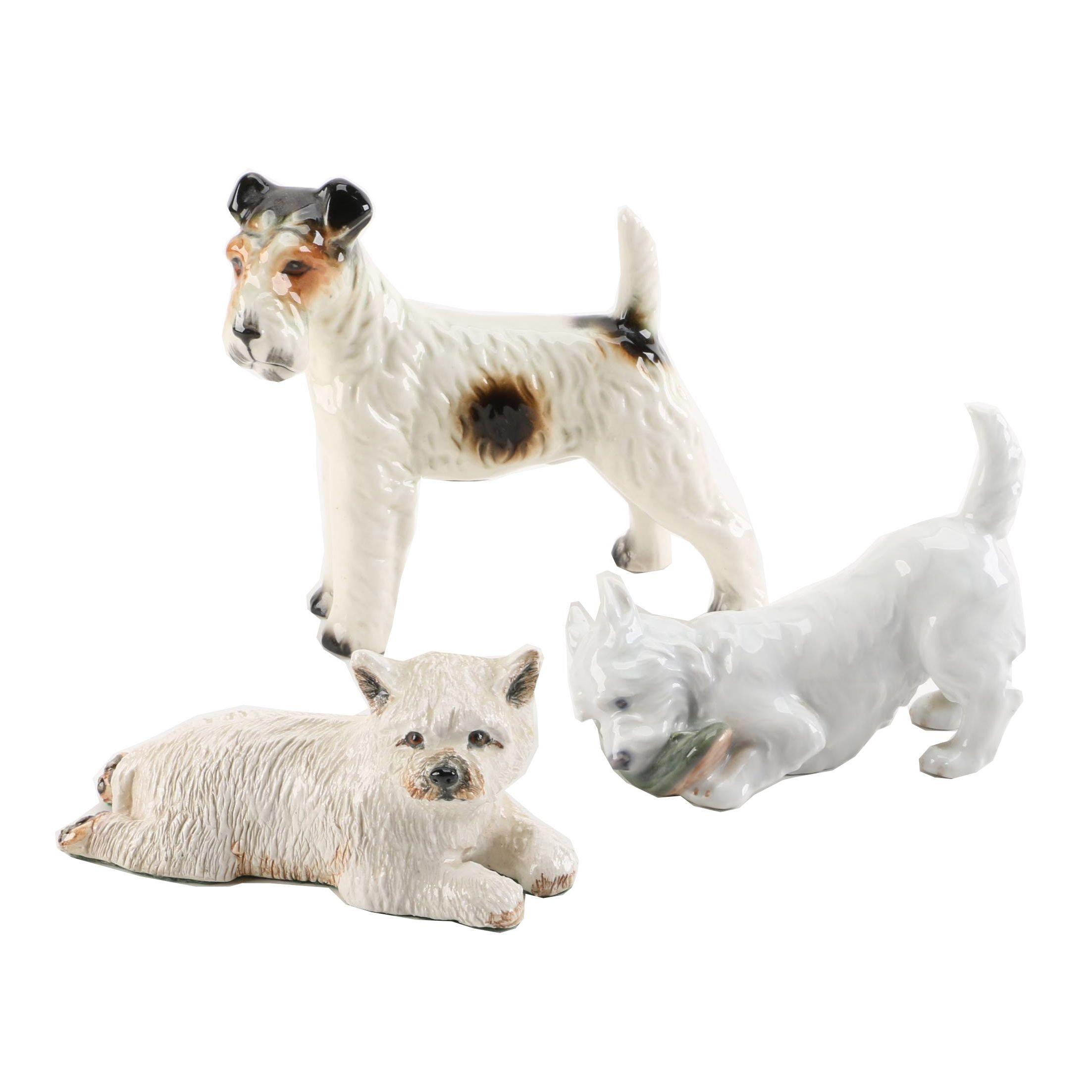 Ceramic Terrier Figurines including Royal Copenhagen