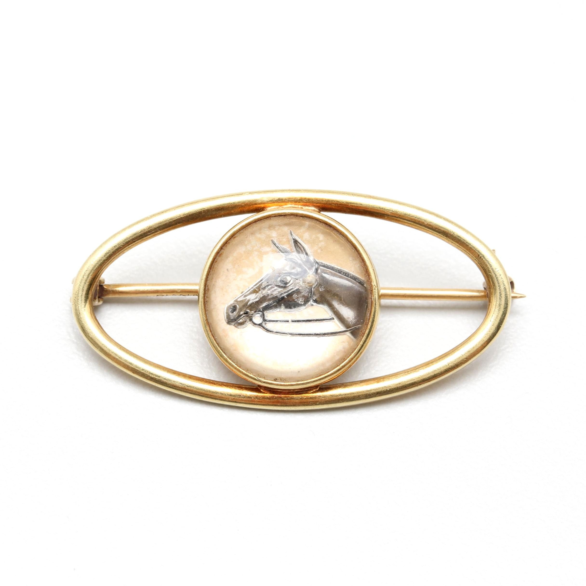 14K Yellow Gold Glass Horse Brooch