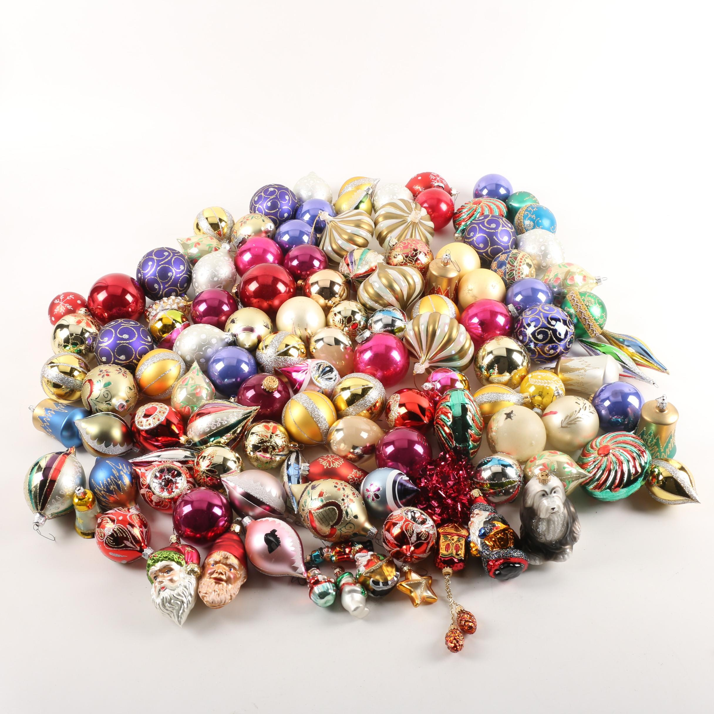 Vintage and Contemporary Glass Christmas Ball and Figural Ornaments