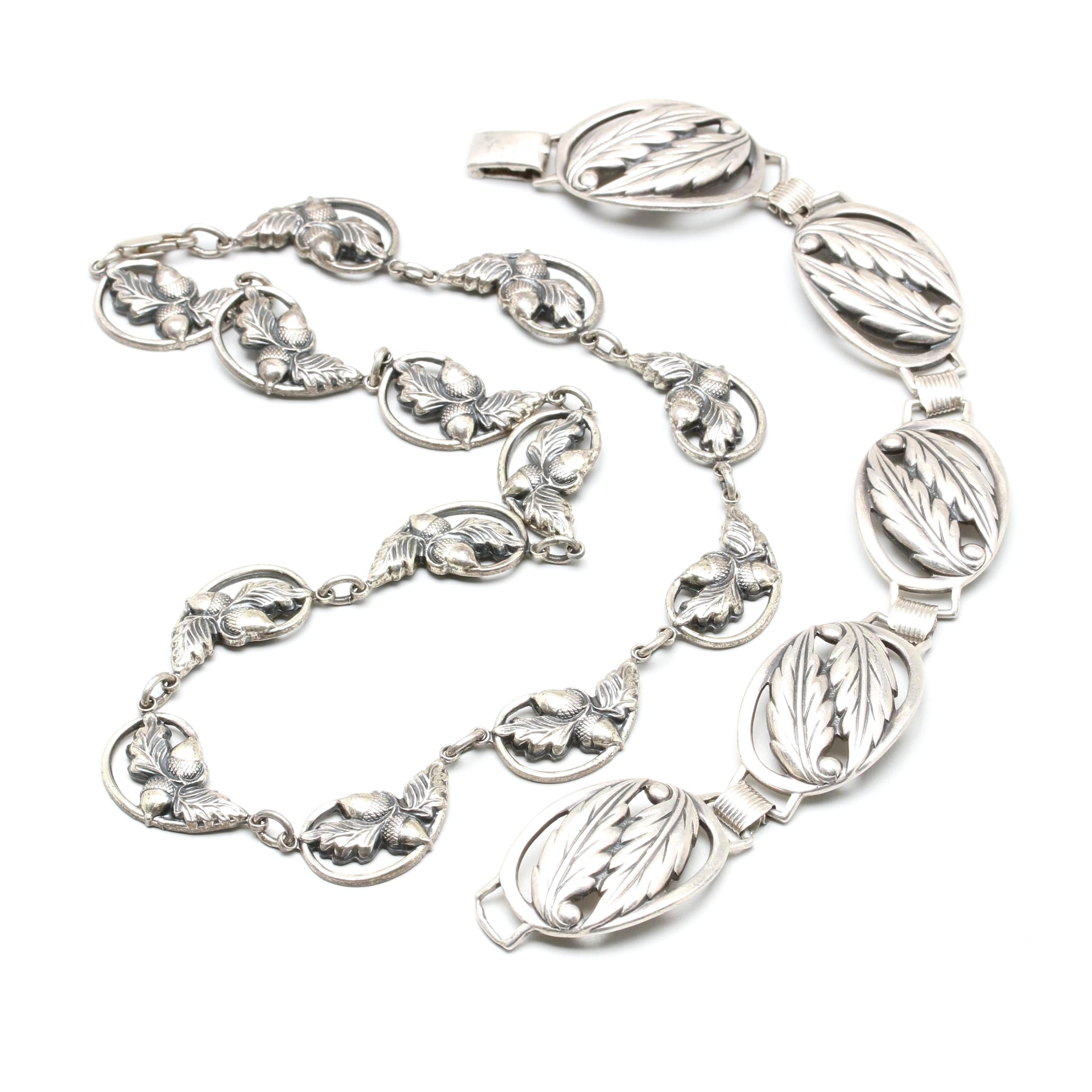 Danecraft Sterling Silver Foliate Bracelet and Necklace