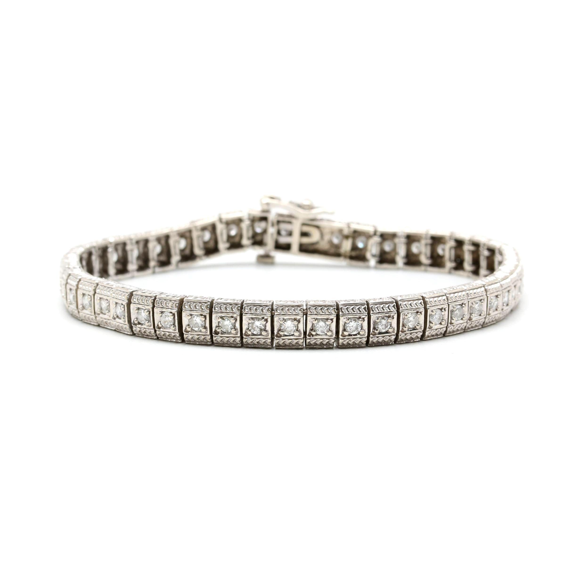 14K White Gold 1.38 CTW Diamond Link Bracelet