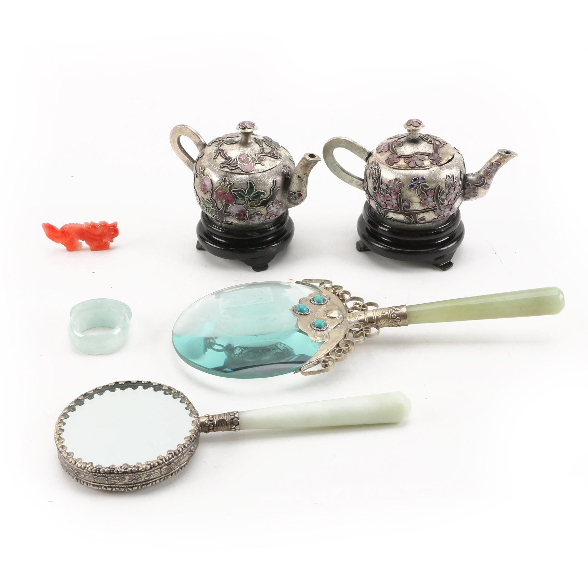Jadeite Ring and Dyed Jadeite Figurine with Champlevé Teapots