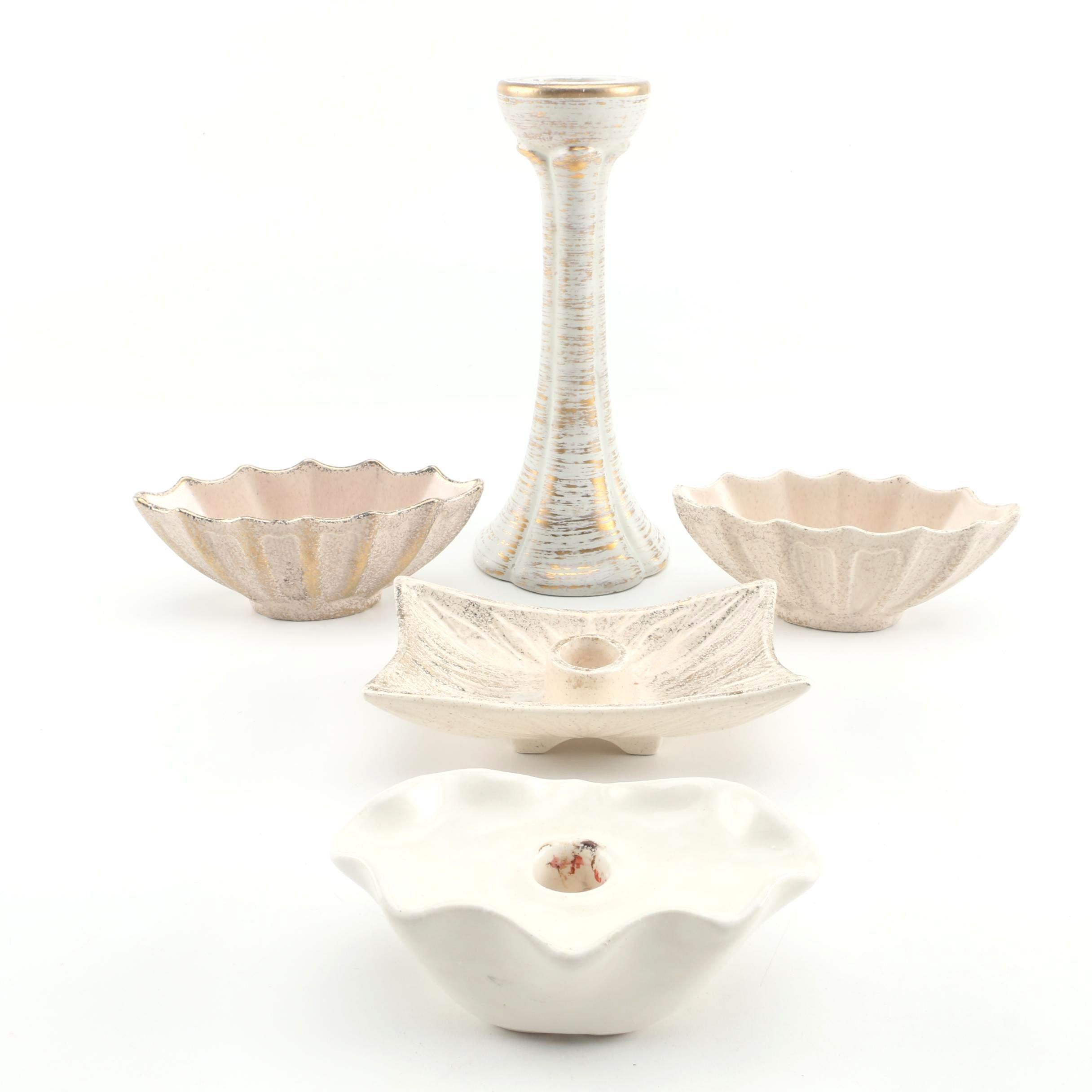 """Ceramic Candlesticks including Haeger """"Old Tweed"""" 22K Gold Glaze"""