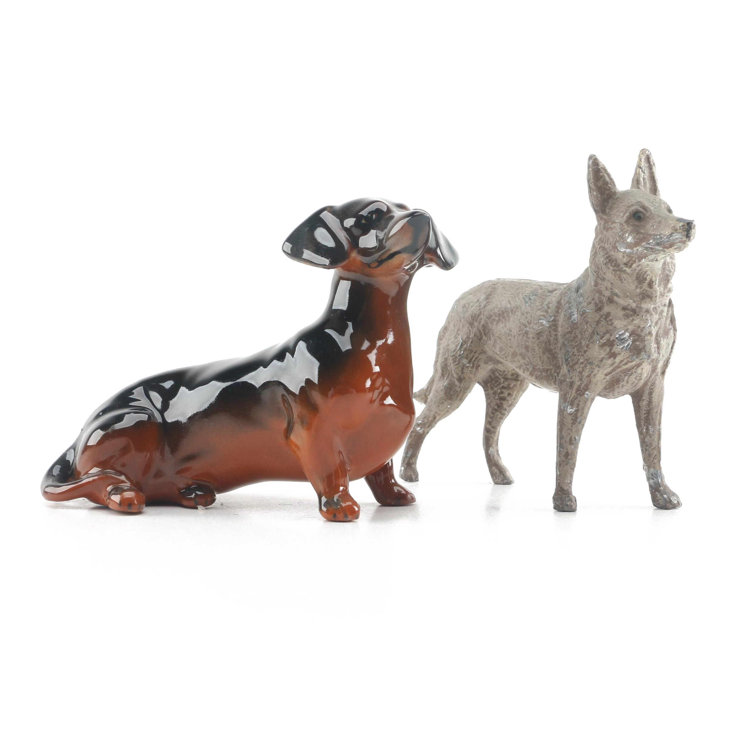 Beswick Porcelain Dachshund Figurine and Metal Shepherd Figurine