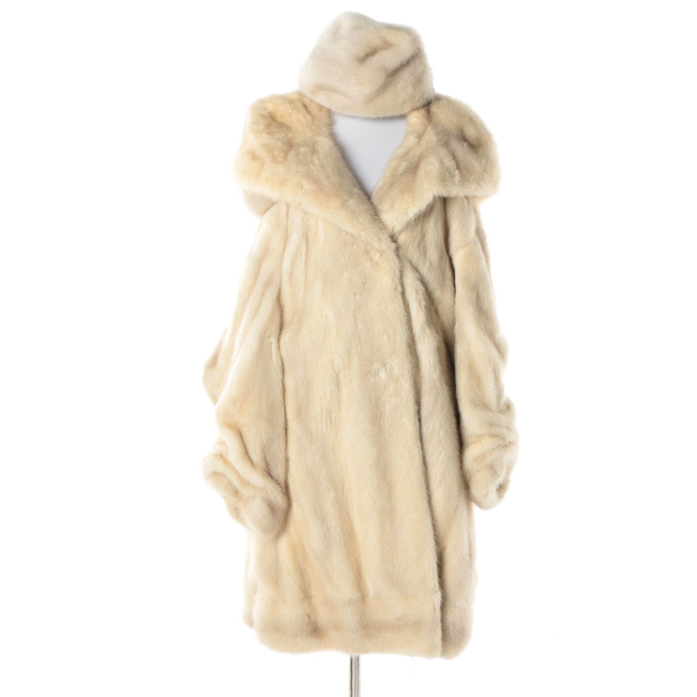 Women's Vintage Evans Furs Blonde Mink Fur Coat and Hat