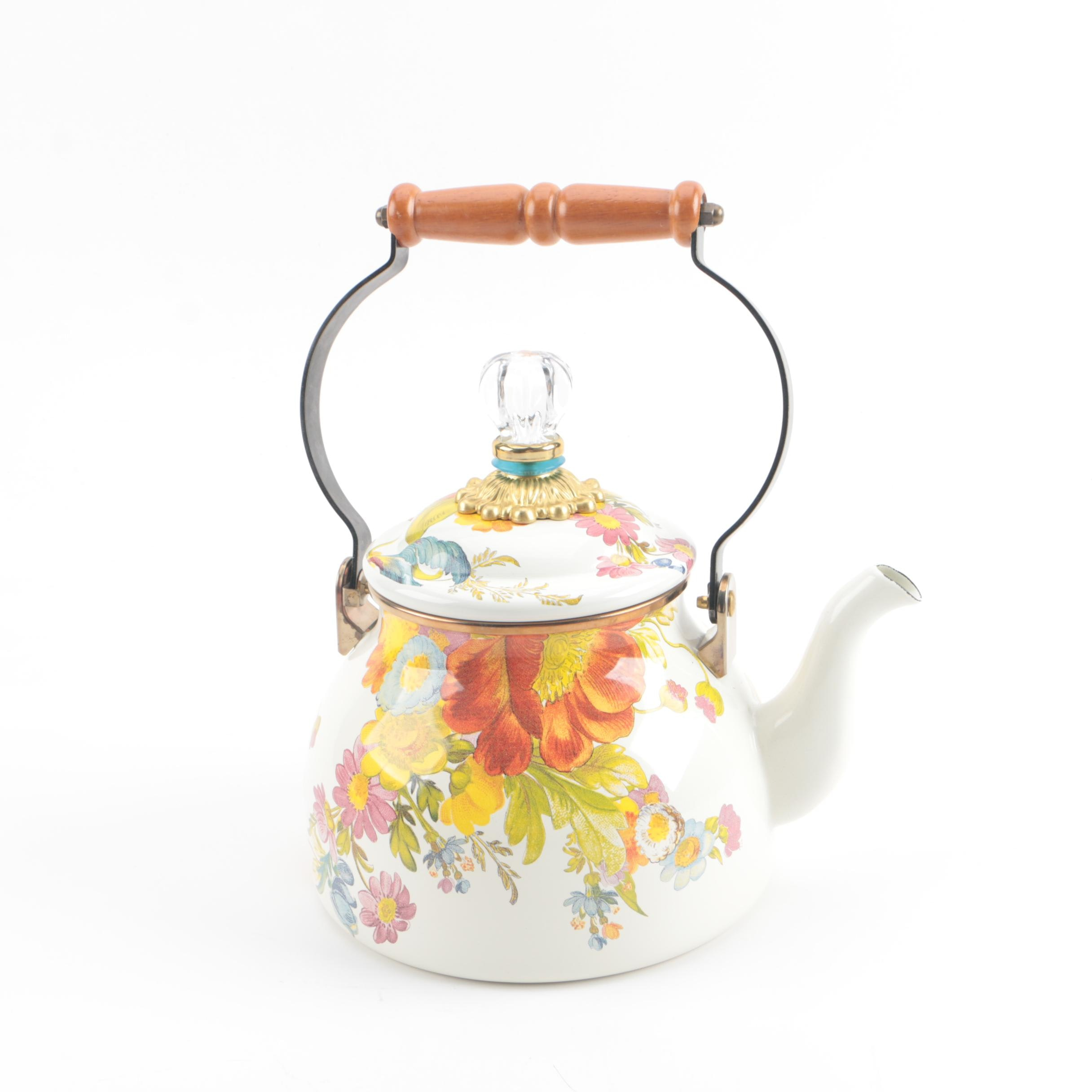 "MacKenzie-Childs ""Flower Market"" Enameled Tea Kettle"