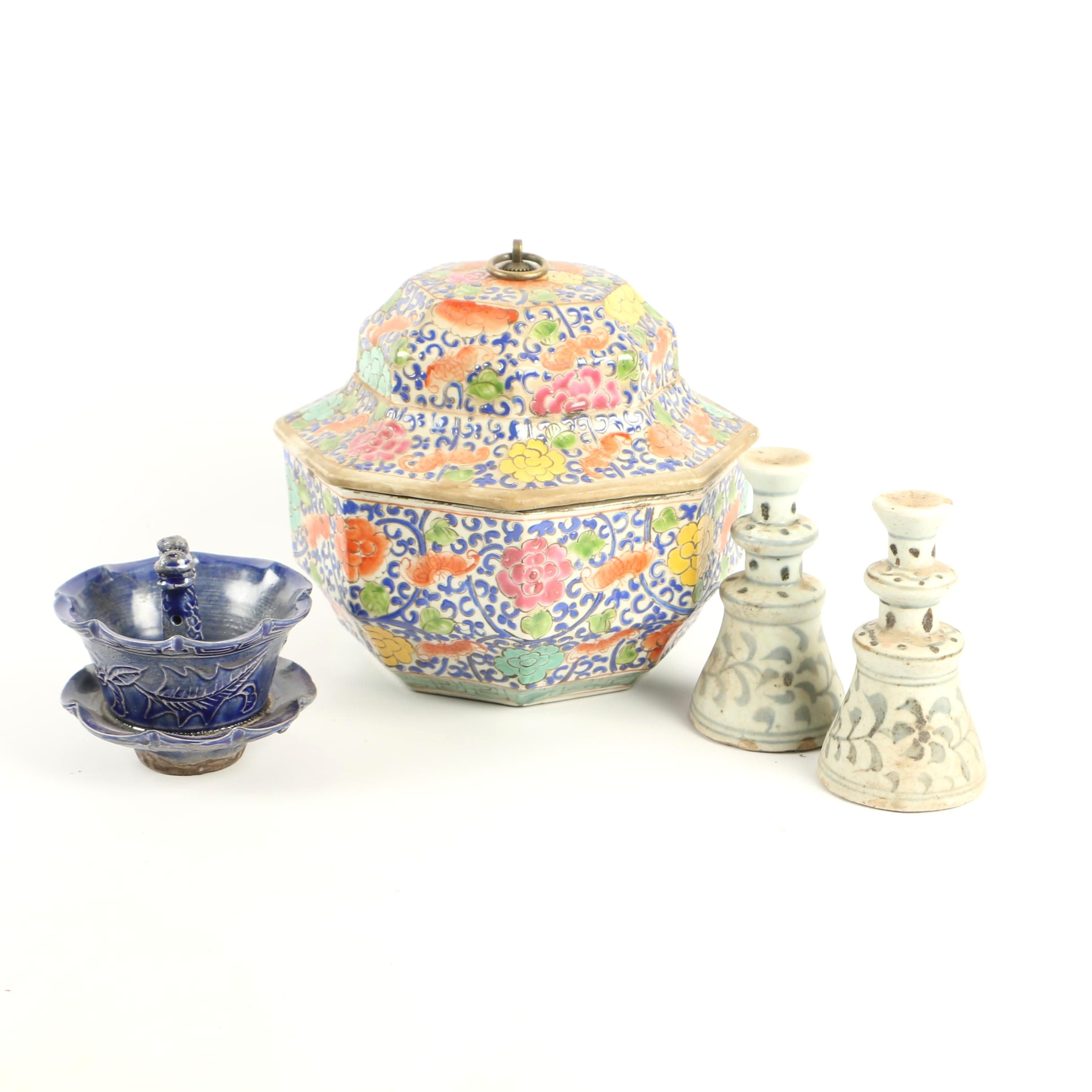 Chinese Hand-Painted Ceramic Jar and Decor