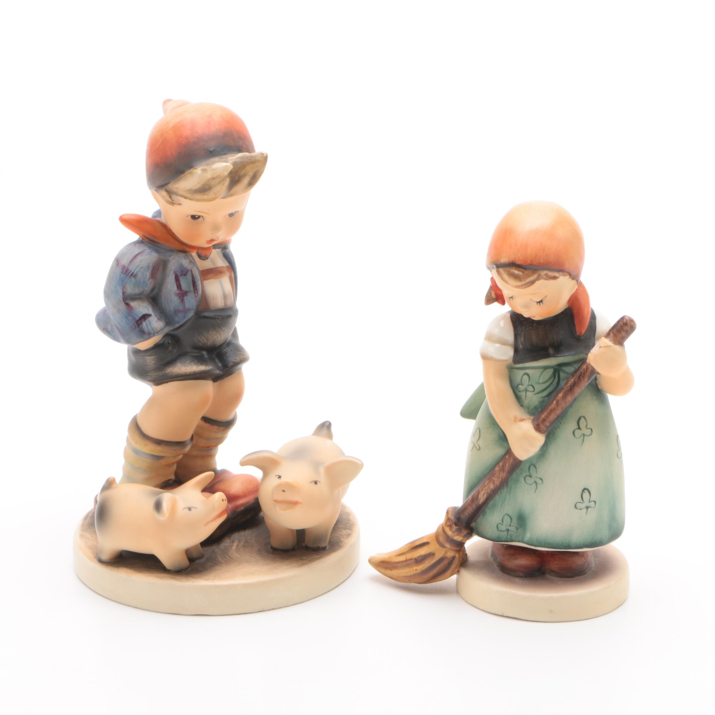 "Goebel Hummel ""Farm Boy"" and ""Little Sweeper"" Porcelain Figurines"