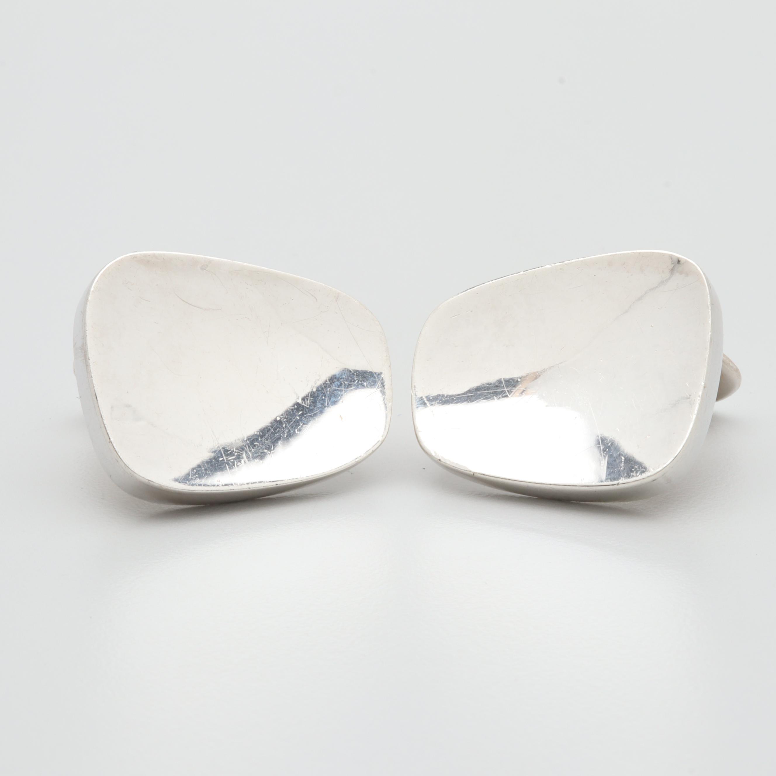 Modernist Scandinavian Brodrene Bjorklund Sterling Silver Cufflinks