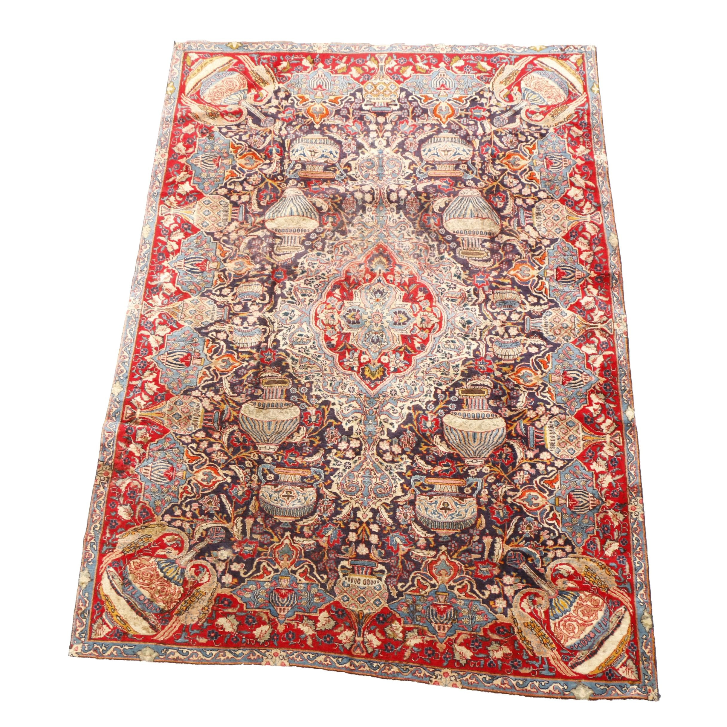 Hand-Knotted Persian Archaeological Pictorial Kashmar Area Rug
