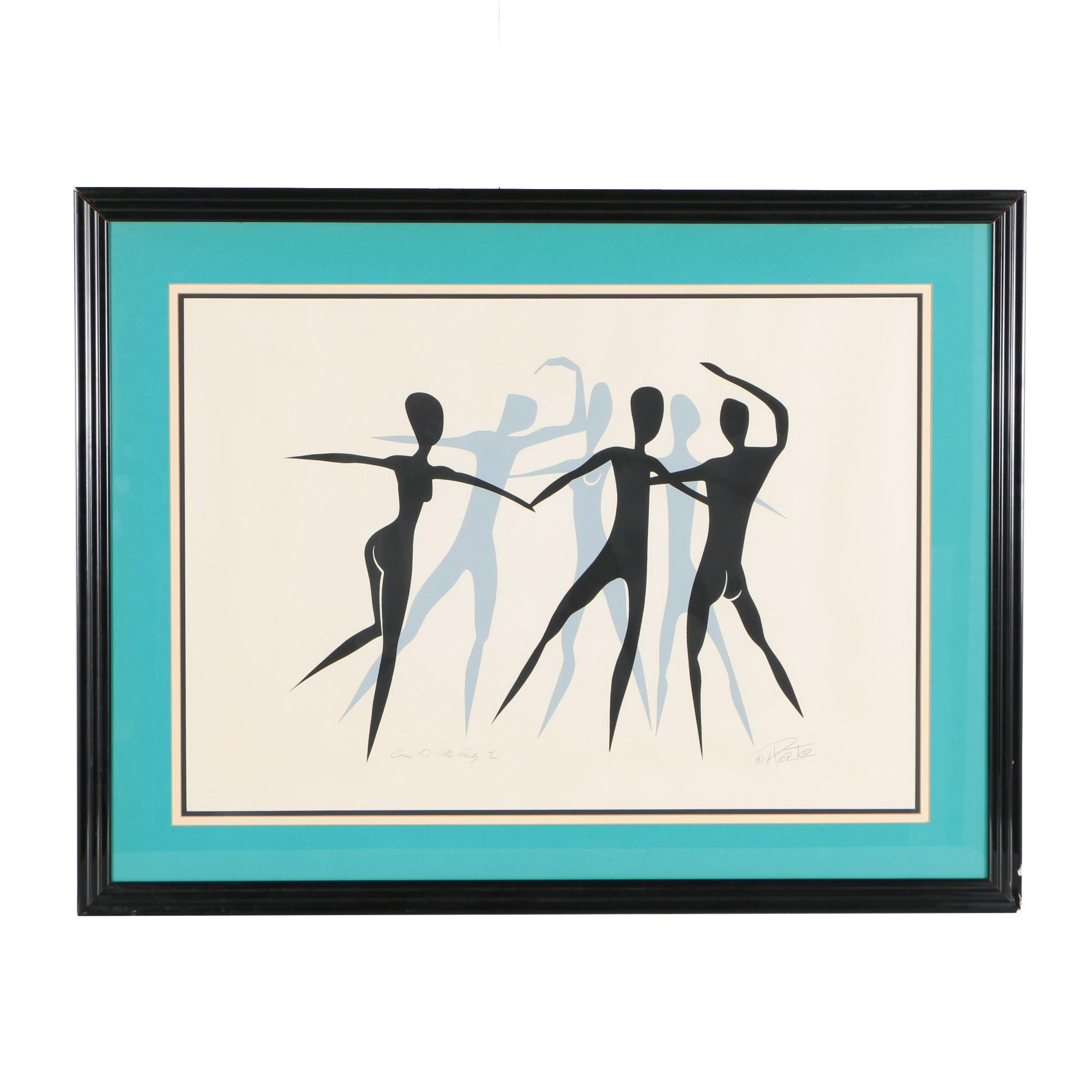 """H. Porter Serigraph """"Come to the Party"""""""