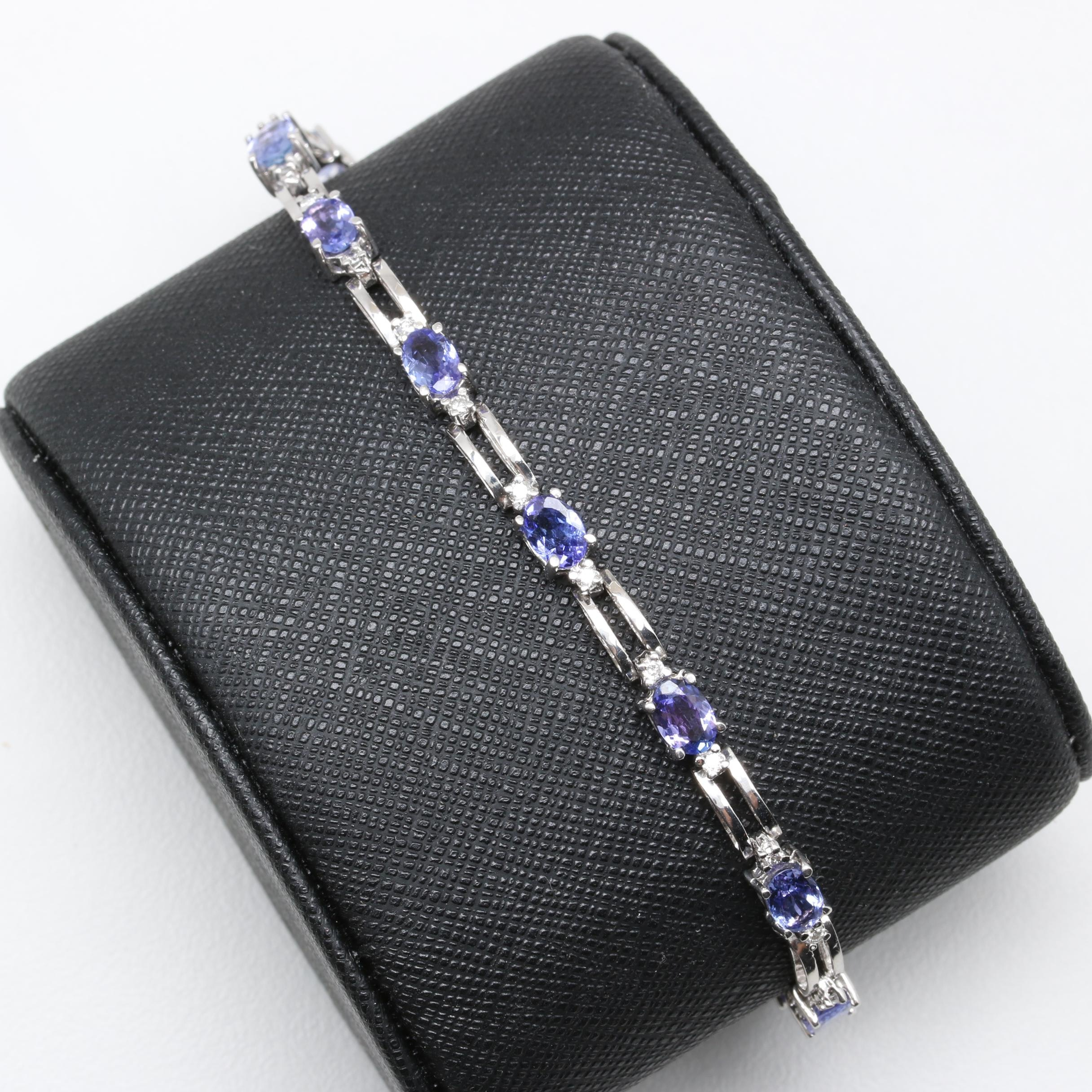 14K White Gold Tanzanite and Diamond Link Bracelet