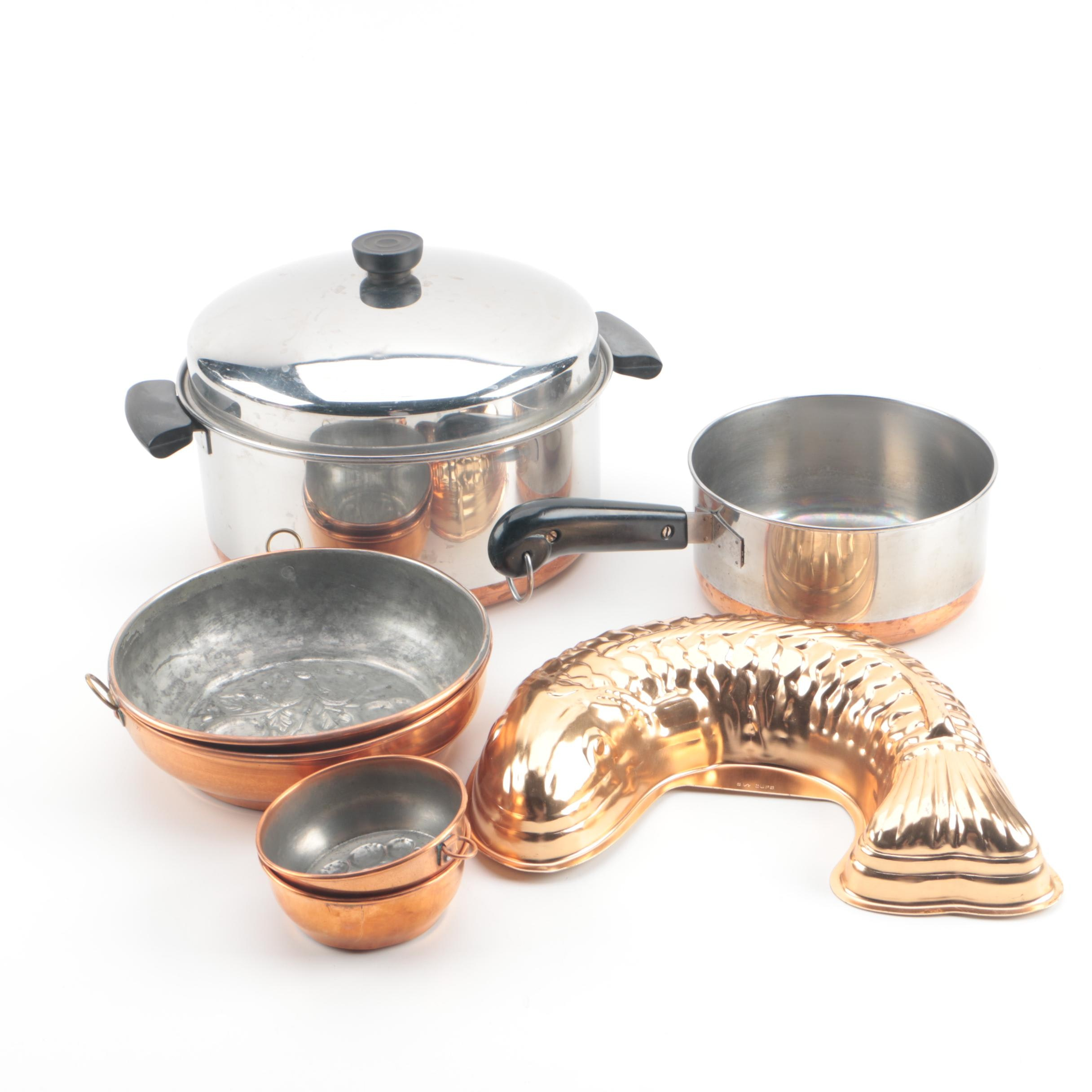 Revereware Steel and Copper Pans and Copper Molds