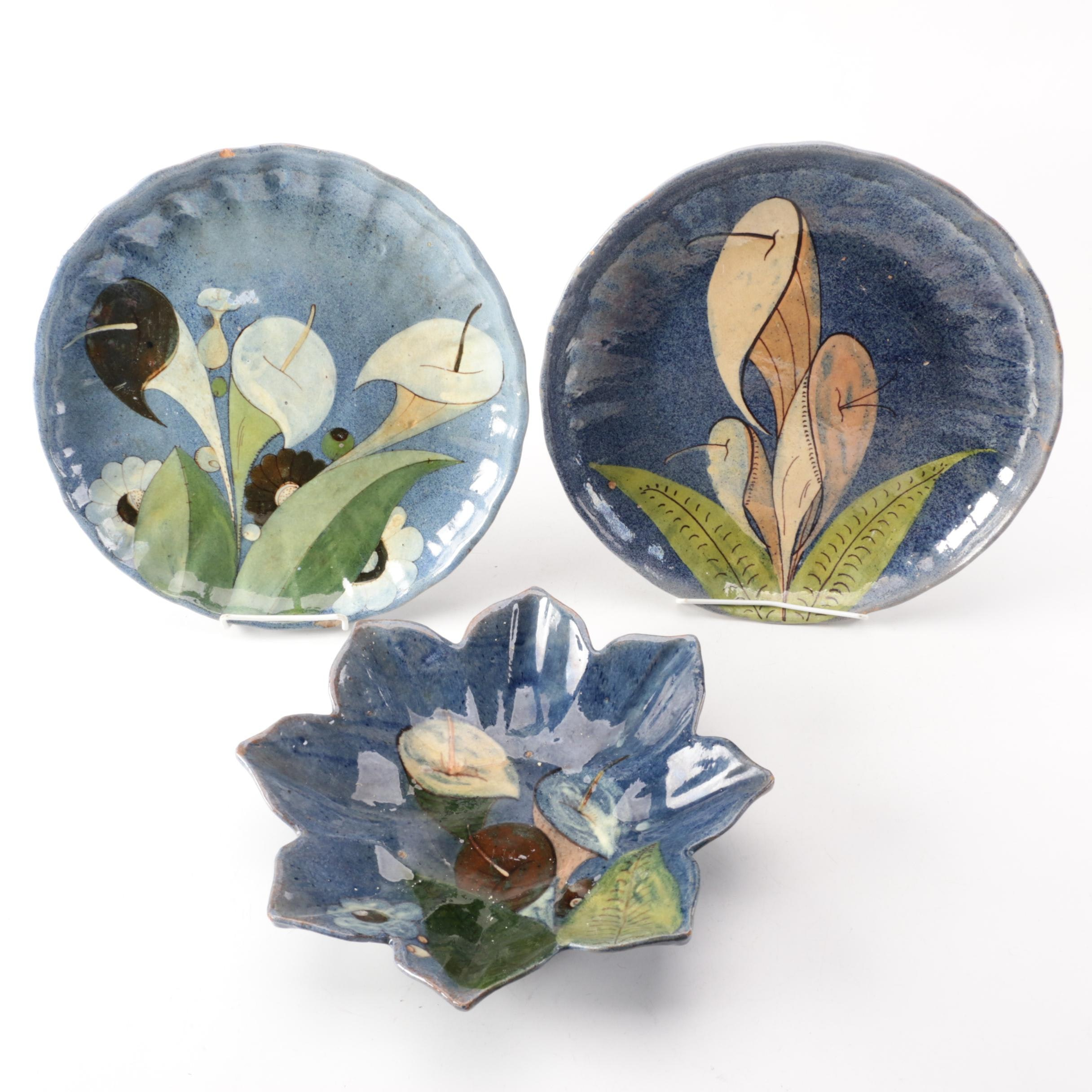 Vintage Mexican Earthenware Serving Plates with Calla Lily Motif