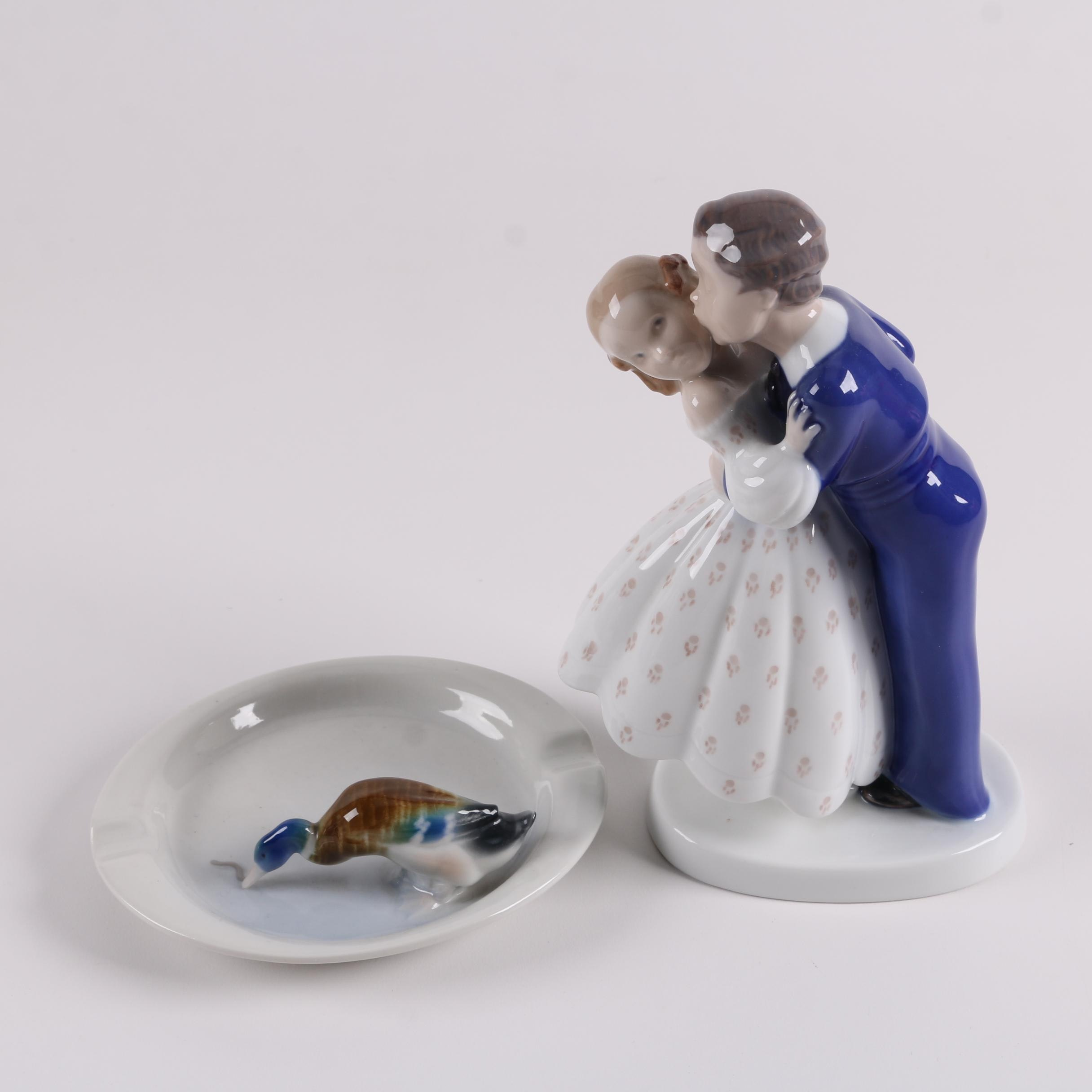 Bing & Grøndahl Porcelain Figurine and Metzler & Ortloff Figurative Ash Receiver