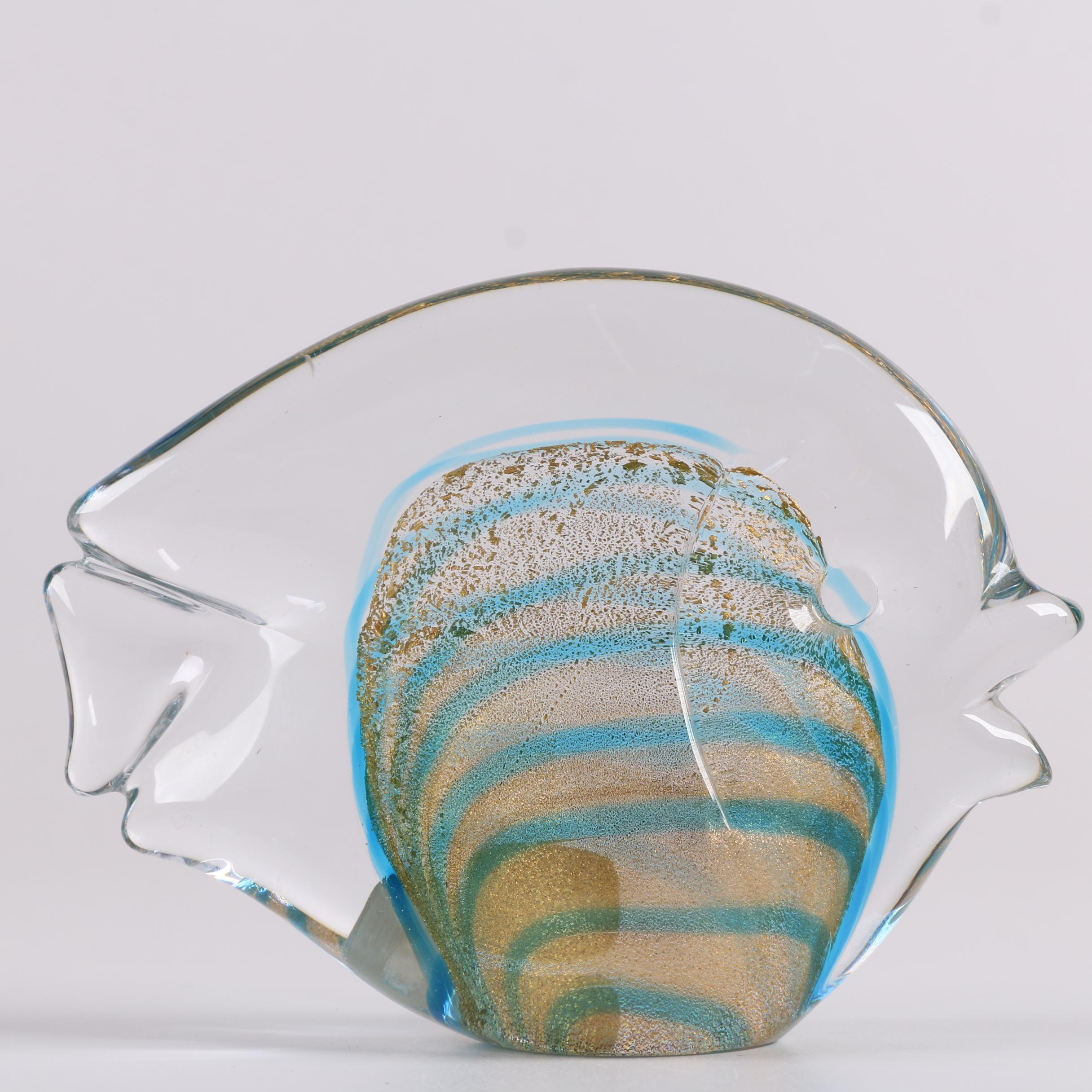 Italian Marcolin Art Crystal Avventurina Fish Figurine