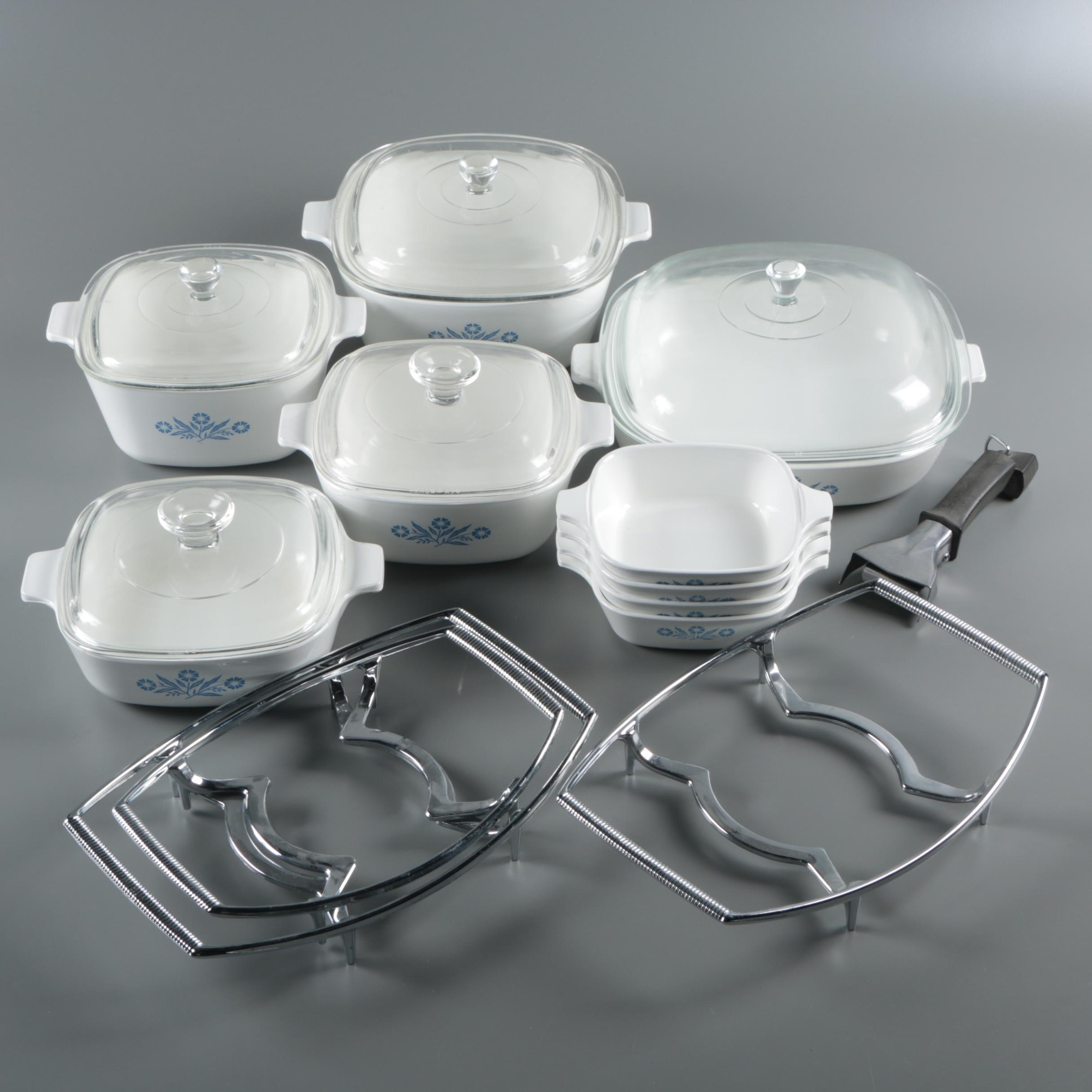 """Corning """"Cornflower Blue"""" Bakeware with Serving Cradles and Detachable Handle"""