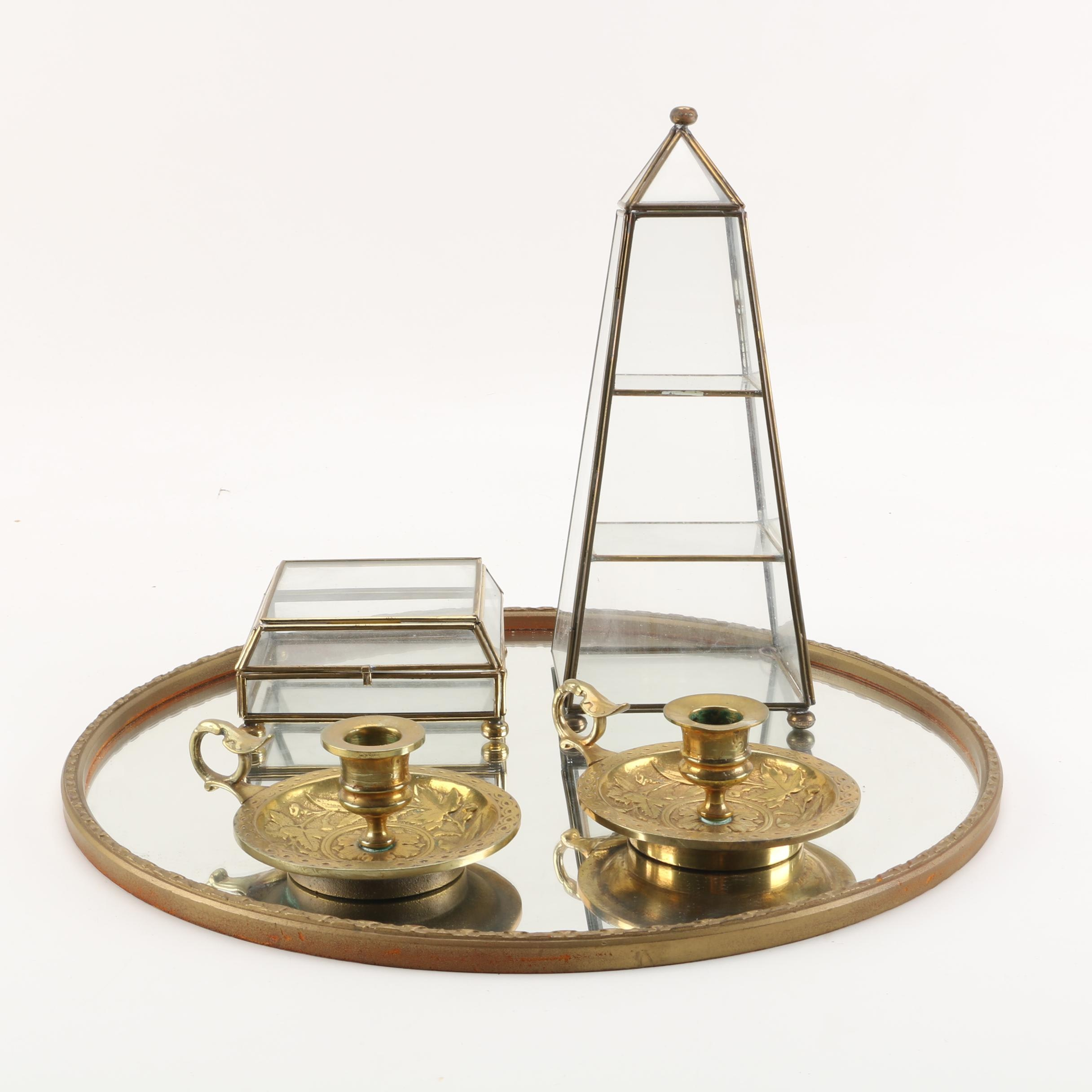 Brass Chambersticks with Mirrored Vanity Tray and Glass Trinket Boxes