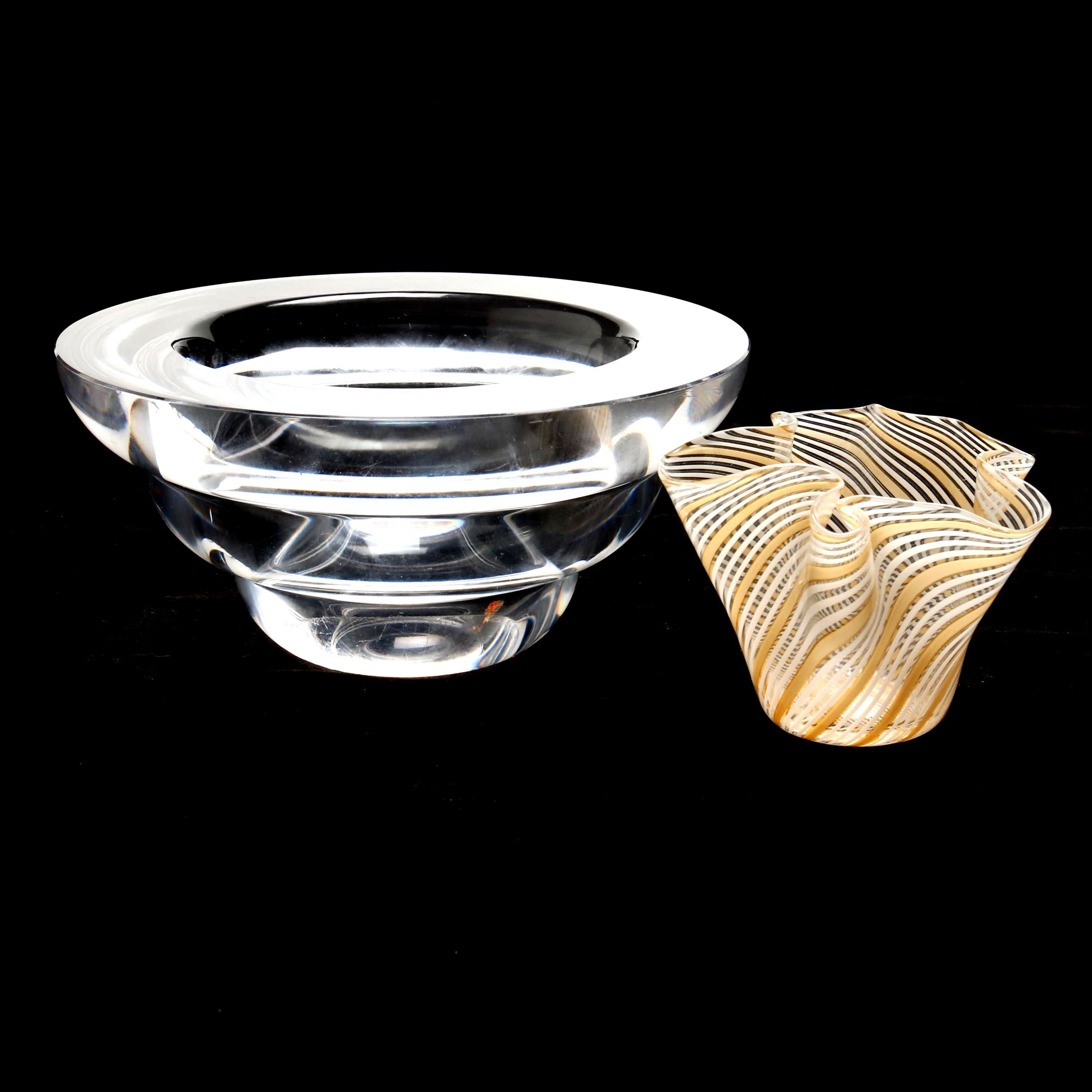 Kosta Boda Crystal Bowl with Striped Handkerchief Bowl