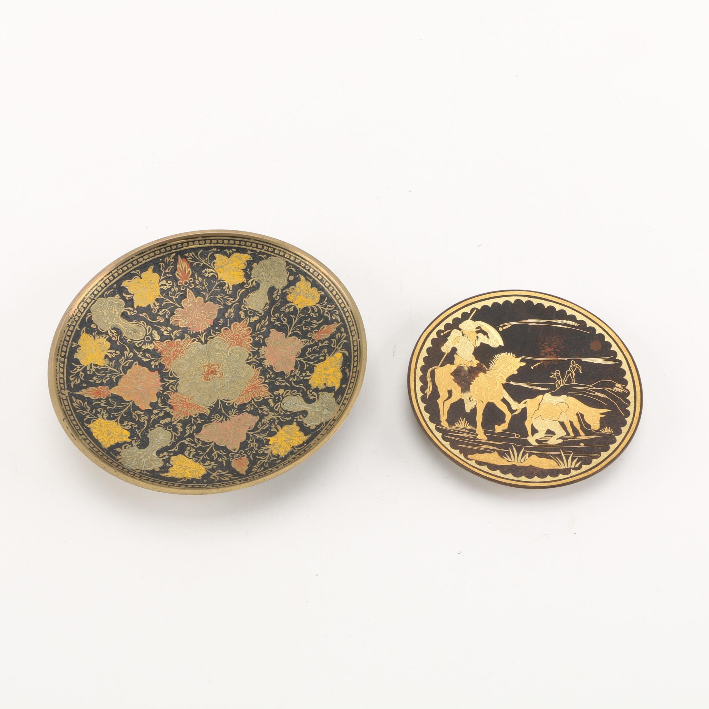 Damascene Decorative Plates Including Don Quixote Motif