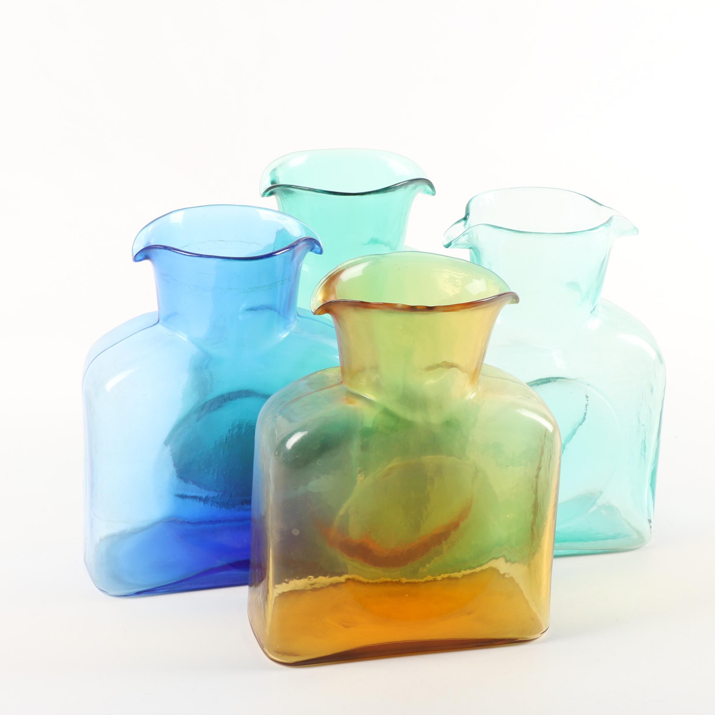 Handcrafted Blenko Art Glass Water Bottles