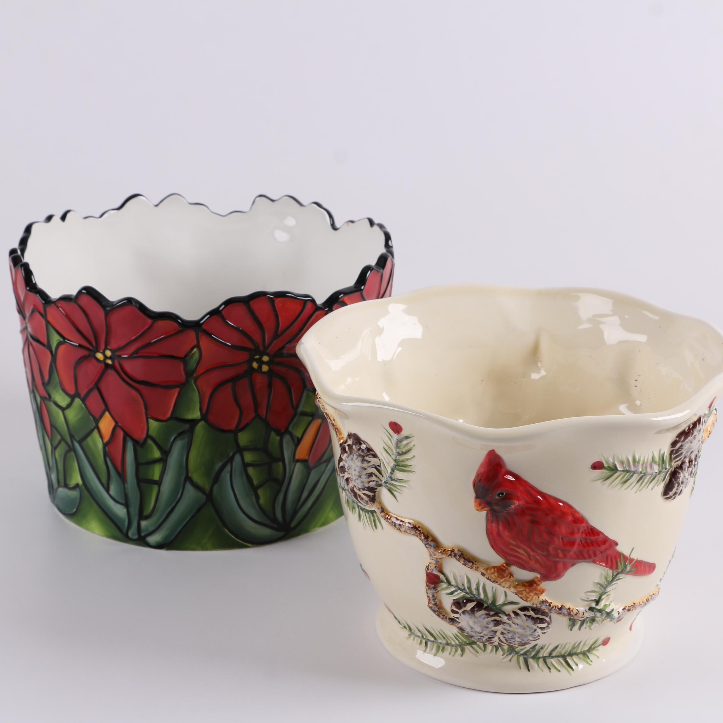 Jackson & Perkins Ceramic Holiday Planters