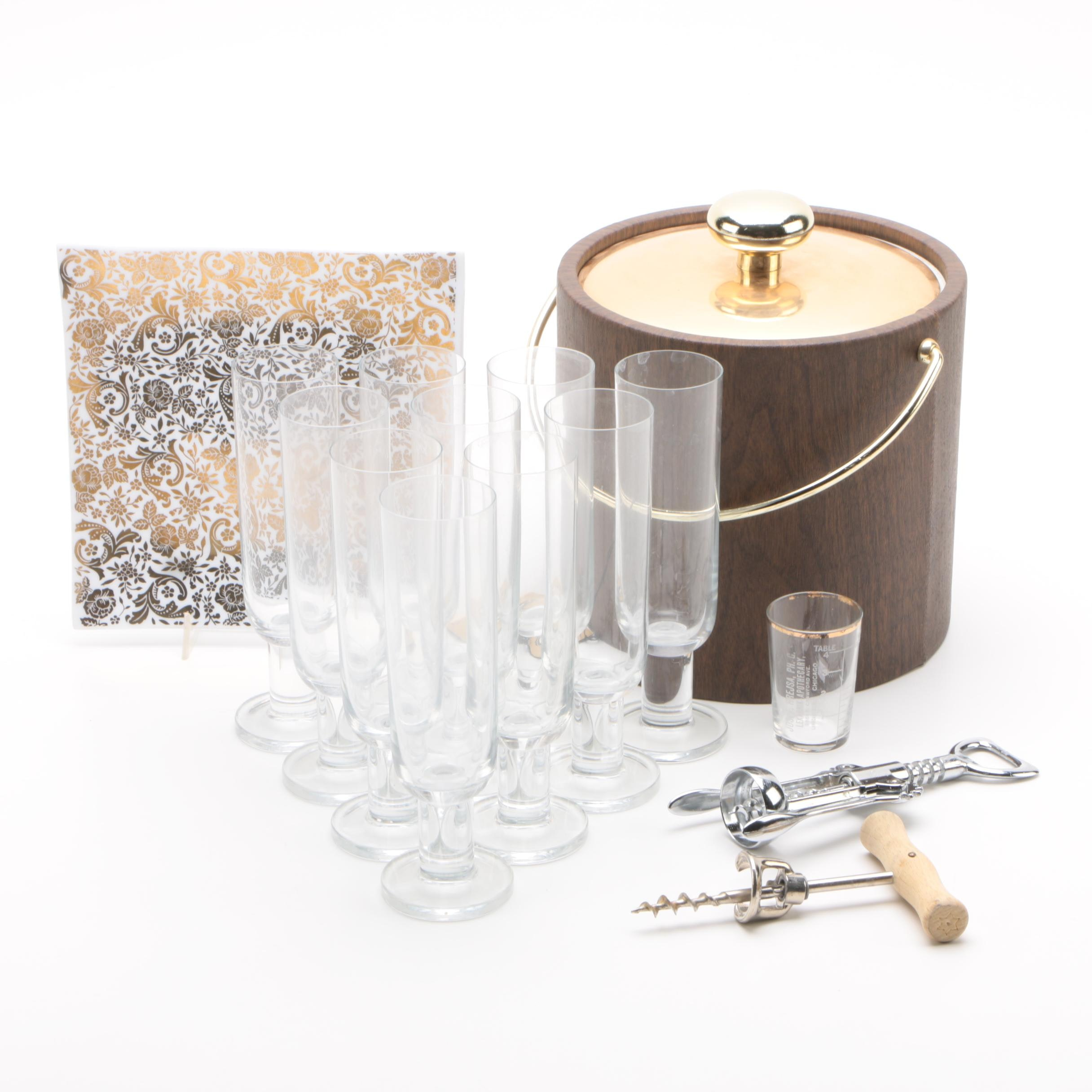 Mid Century Bar Accessories and Stemware Featuring Kraftware and Georges Briard