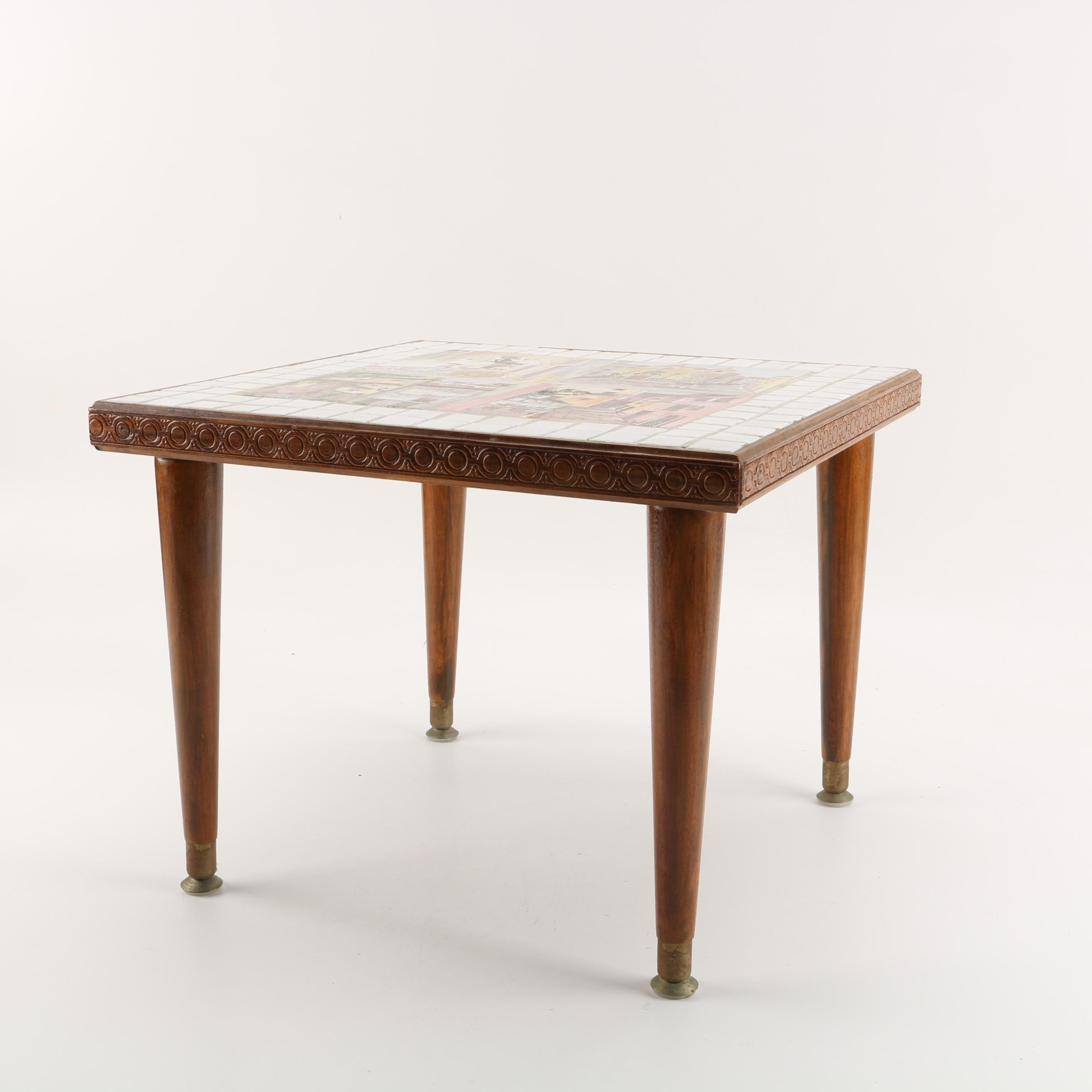 """Mid Century Modern """"Portuguese"""" Tile Top Accent Table"""