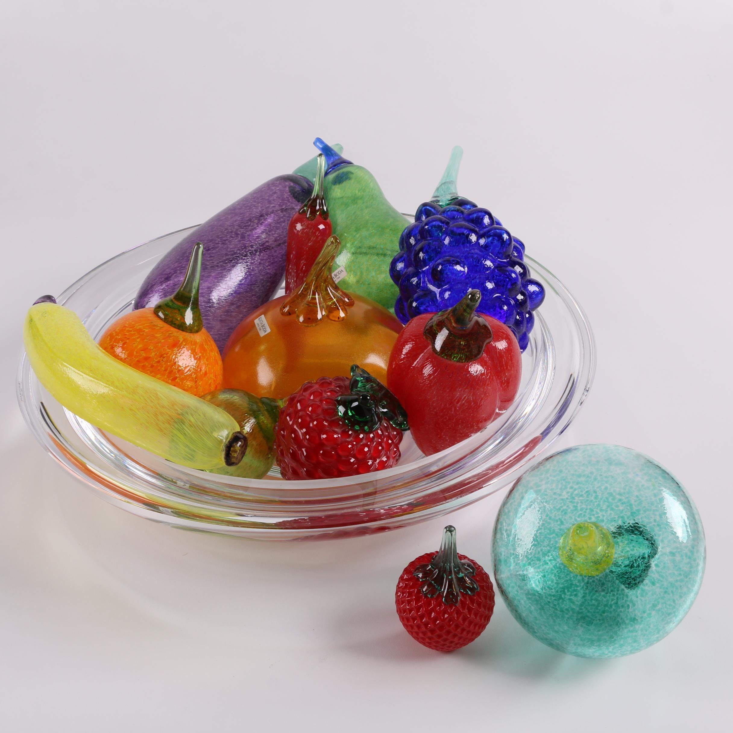 Crystal Bowl with Kosta Boda and Svoboda Glass Fruit