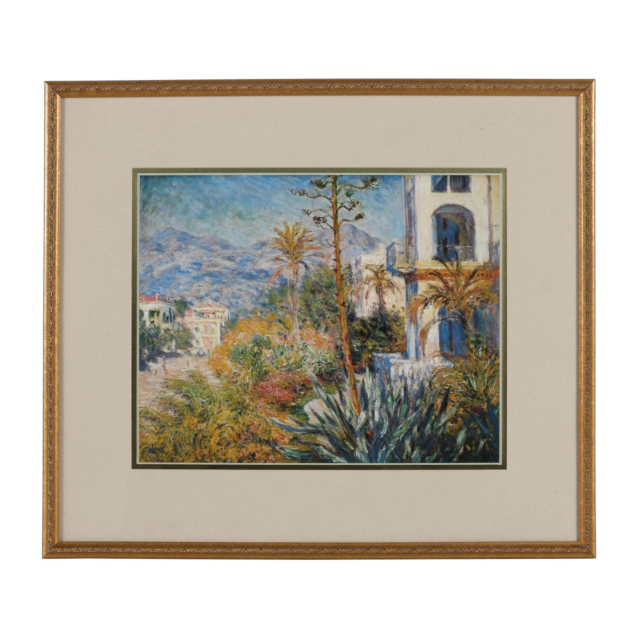 "Offset Lithograph After Claude Monet ""Villas at Bordighera"""