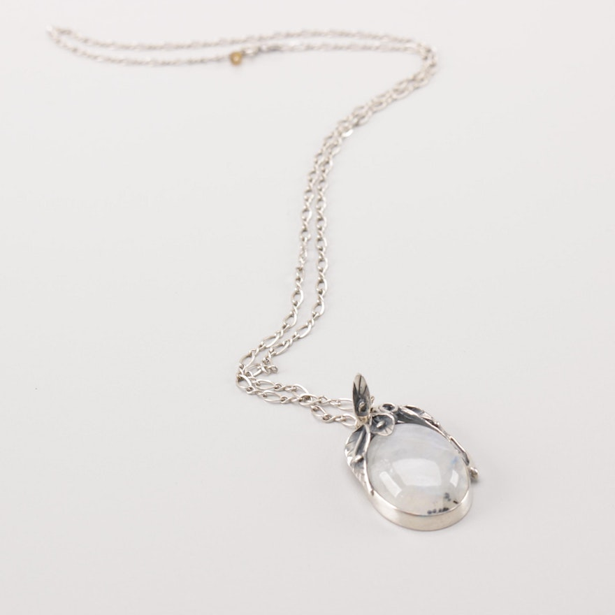 Sterling silver rainbow moonstone pendant necklace ebth sterling silver rainbow moonstone pendant necklace aloadofball Image collections