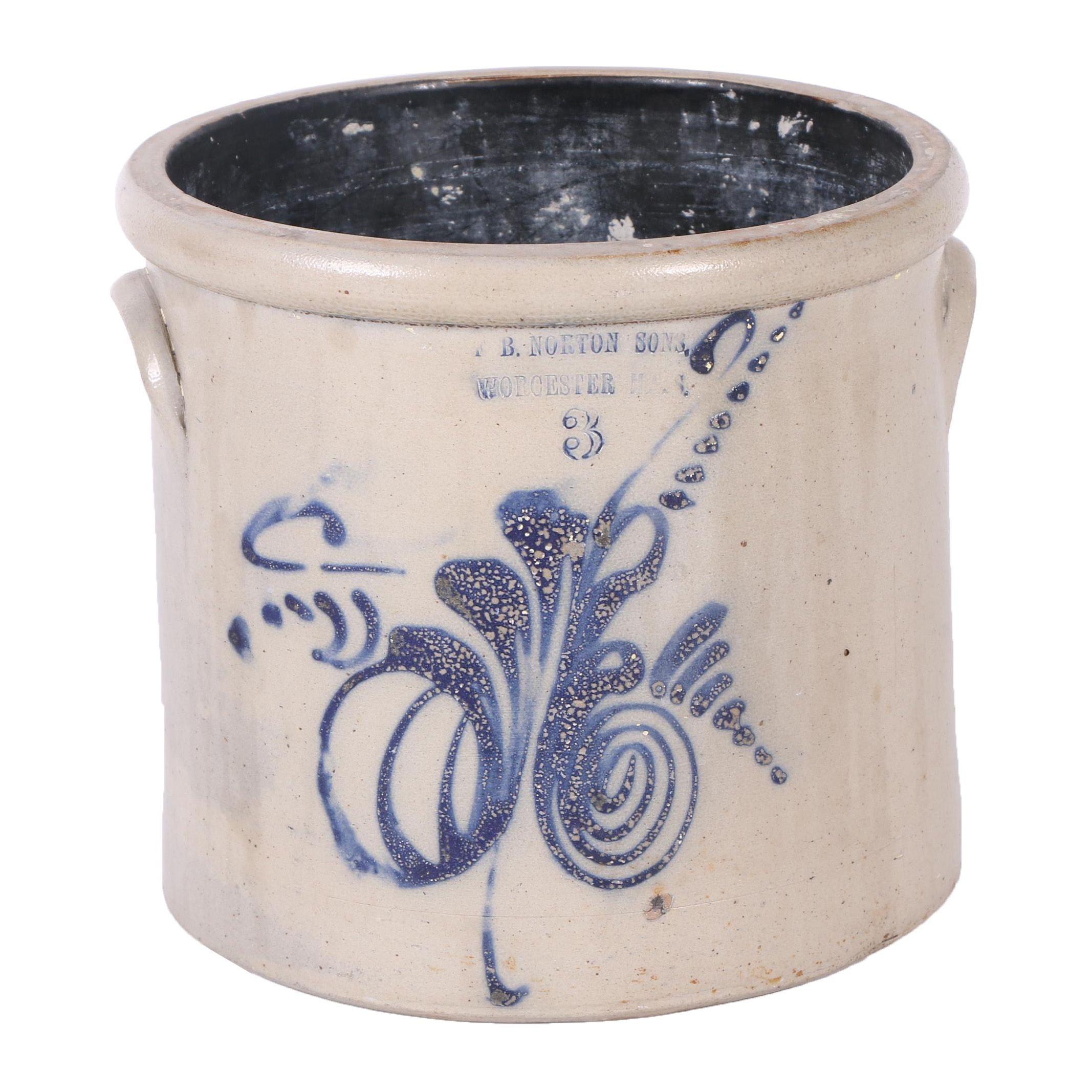 Antique F.B. Norton Sons of Worcester, MA Salt Glazed Stoneware 3-Gallon Crock