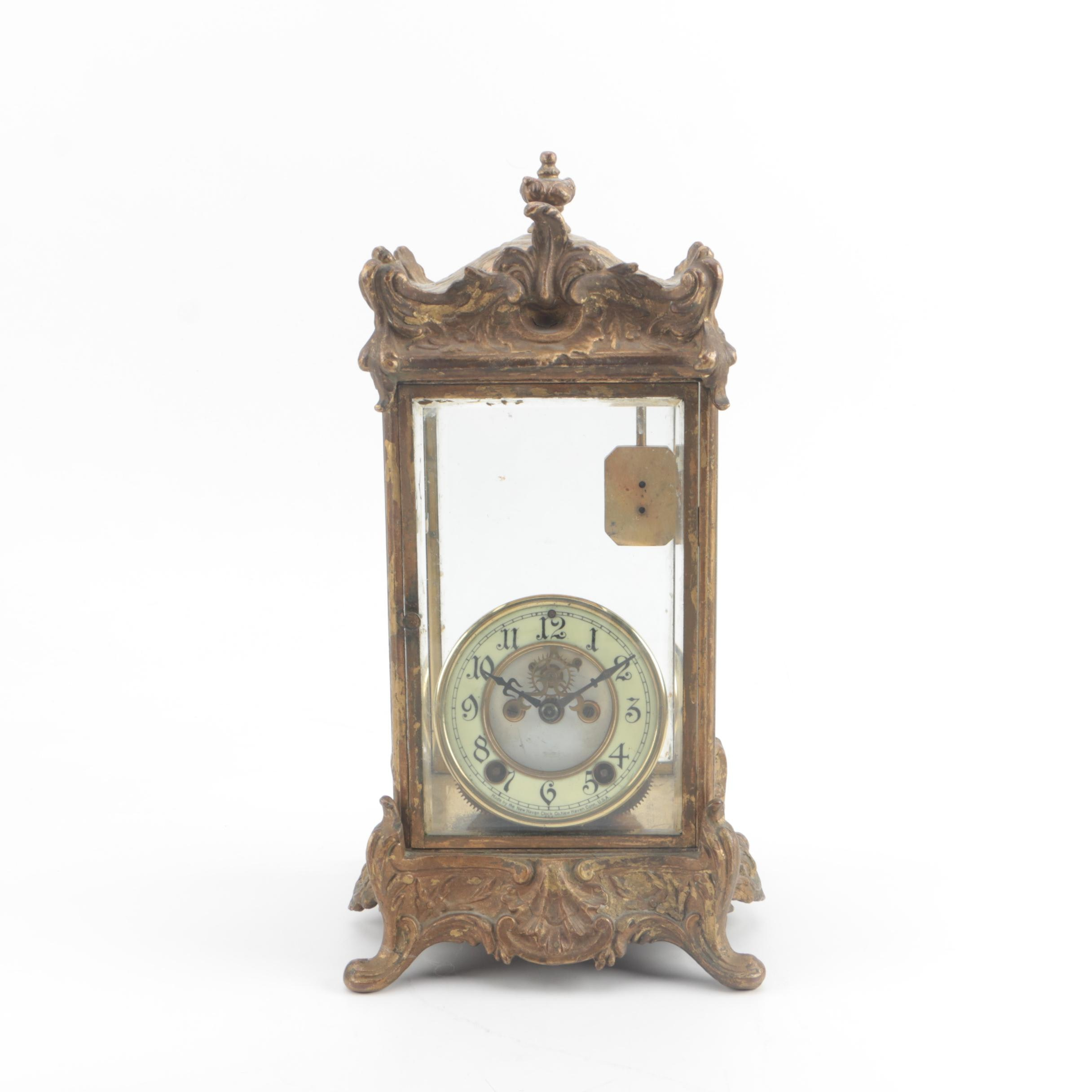 Antique New Haven Clock Co. Gilt Bronze and Glass Mantel Clock