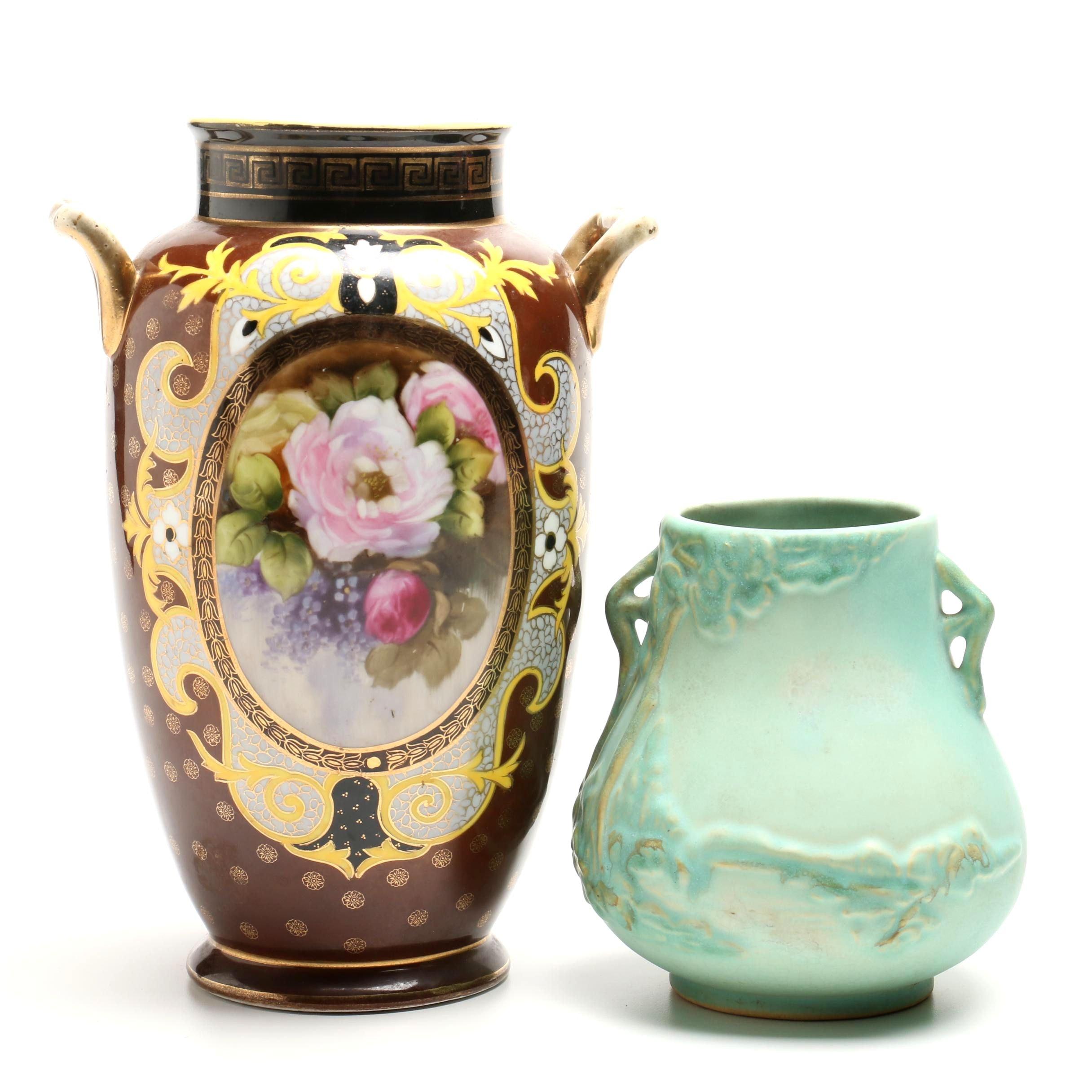 """Noritake Porcelain and Weller """"Scenic"""" Vases"""