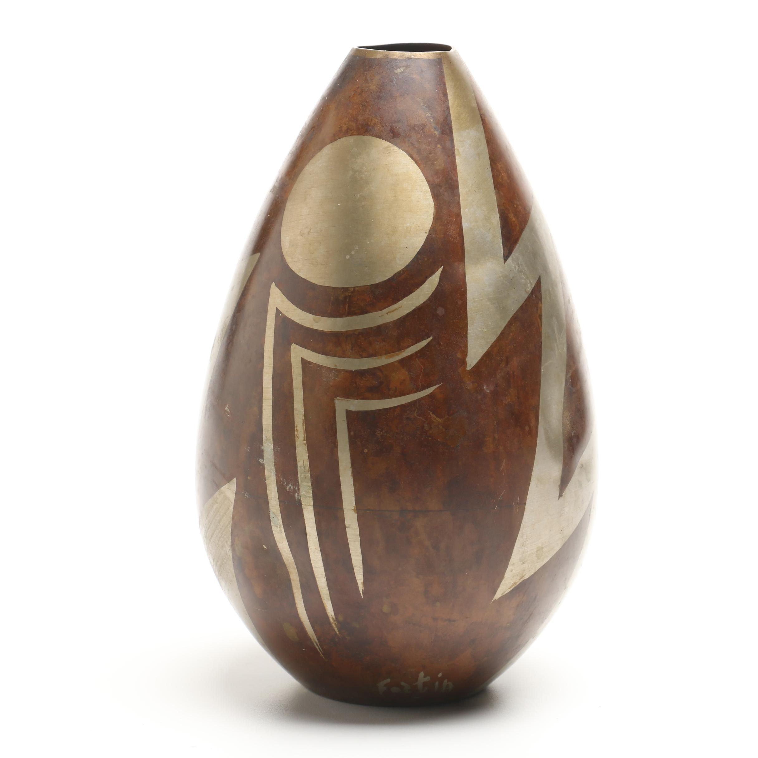 Vintage Art Deco Style Mixed Metal Vase