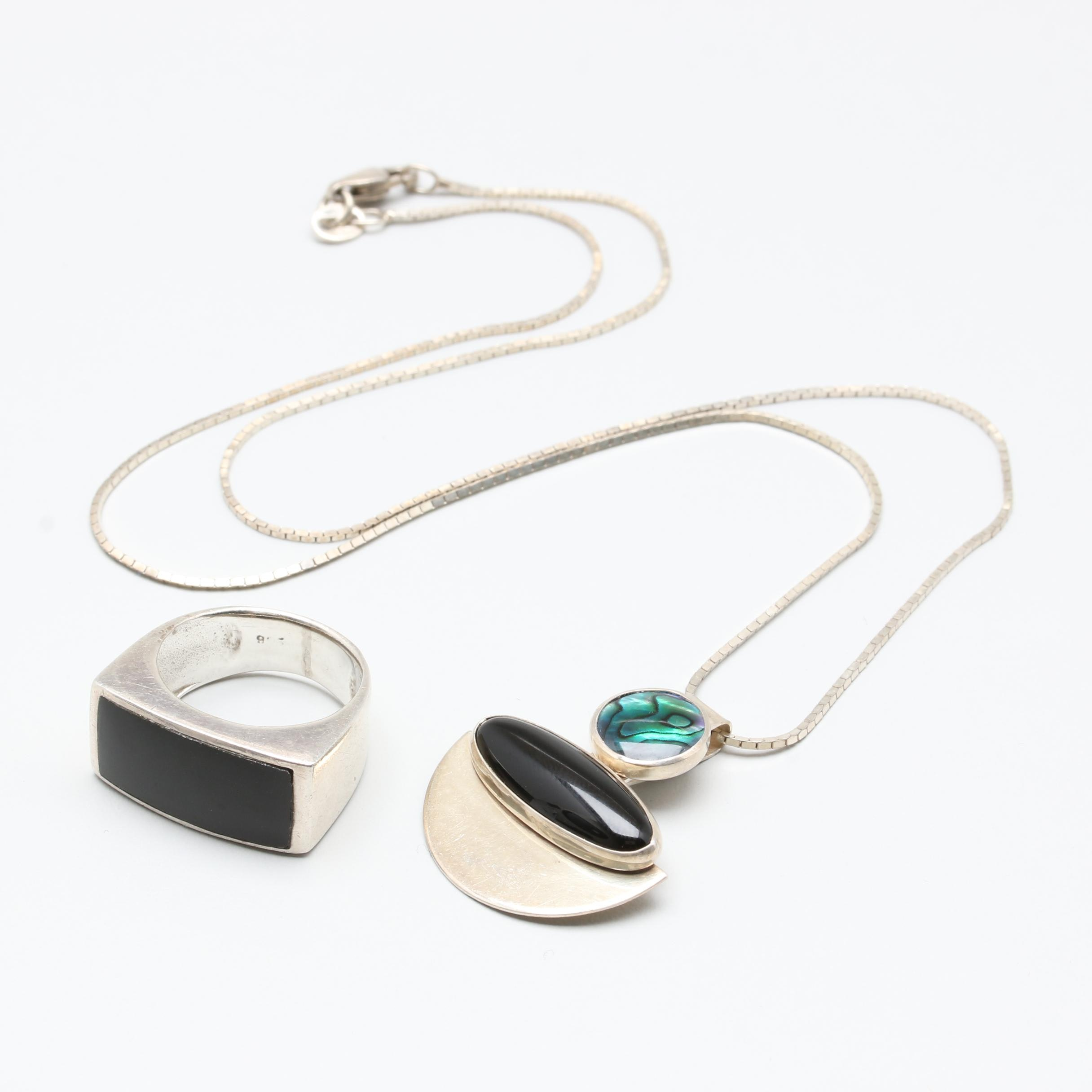 Sterling Silver Necklace and Ring Including Abalone and Black Onyx